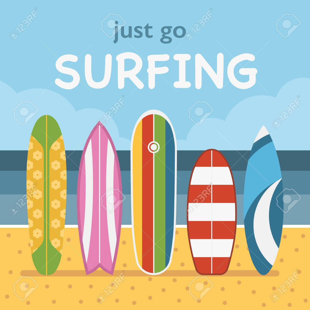 Aller Surfer Le Concept Illustration Vectorielle Differentes Planches De Surf Debout Sur Le Sable Tropical De Plages Vaus Planches De Surf Sur Le Cote De La Mer Le Paysage D Ete Sur La