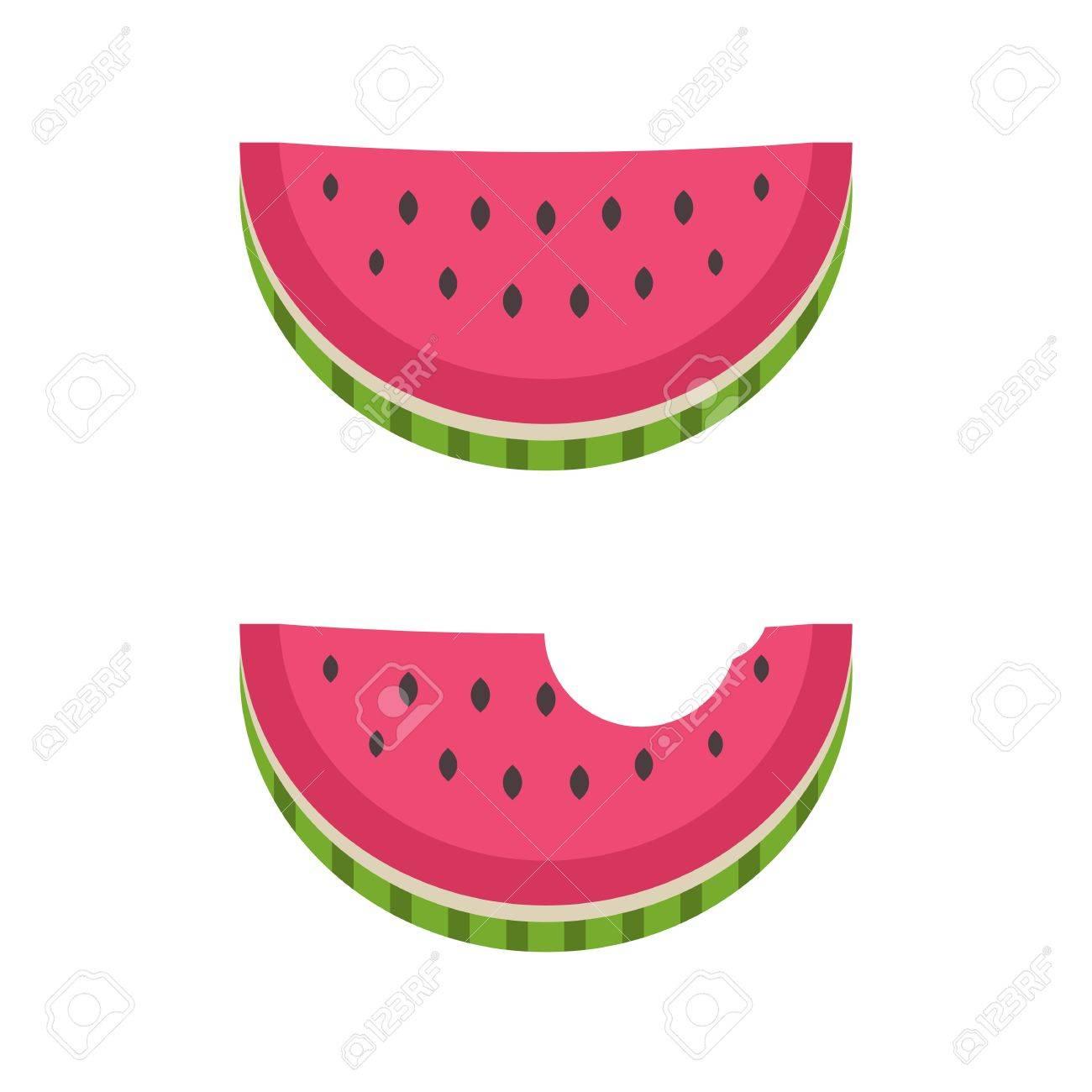 watermelon flat design icon water melon bitten piece cartoon rh 123rf com Watermelon Slice Vector Pineapple Vector