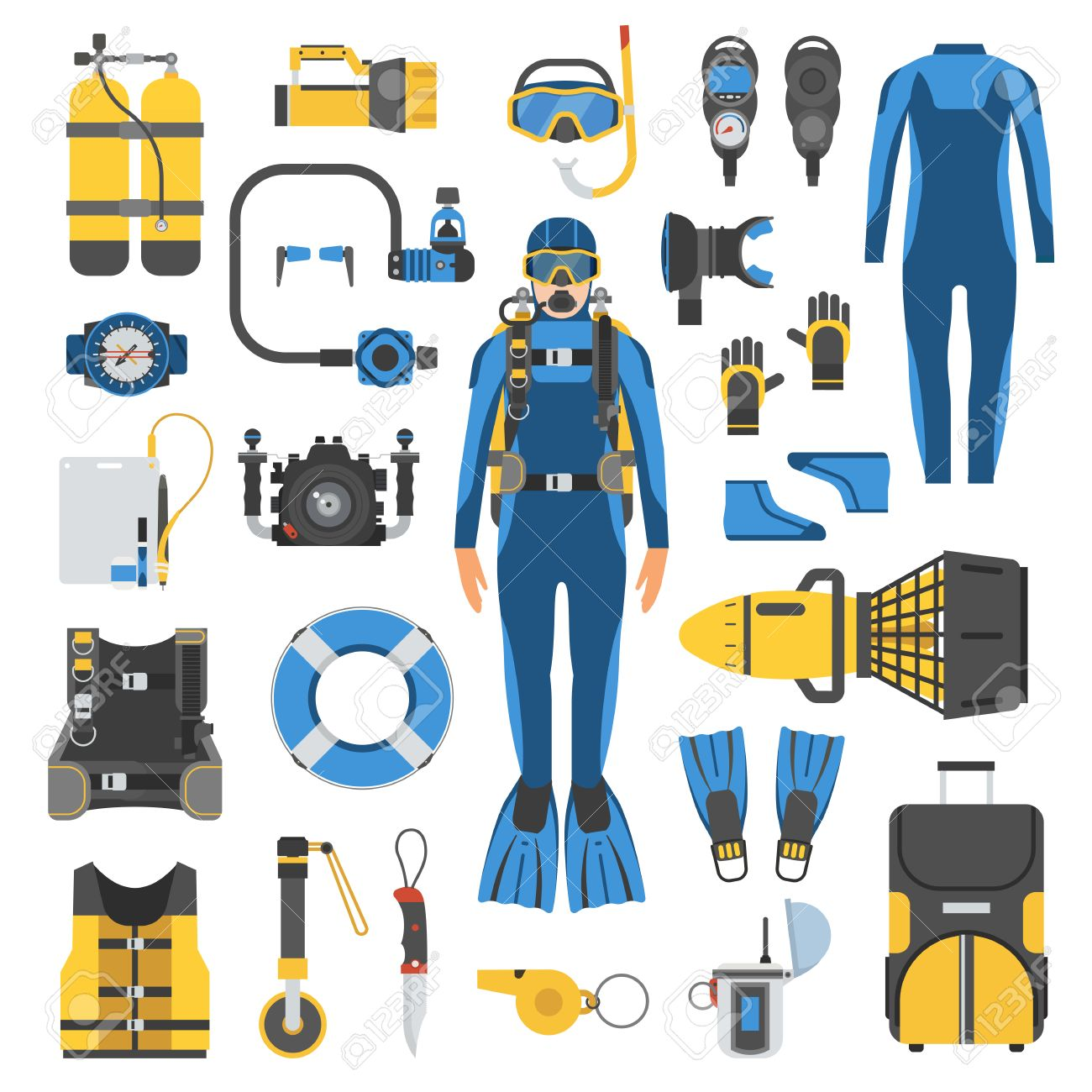 Diving set of elements. Diver man in wetsuit, scuba gear and accessories. Scuba-diving icons. Underwater activity appliances in flat. Scuba and snorkeling kit. Dive suit, aqualung, snorkel, mask, bag. - 59488282