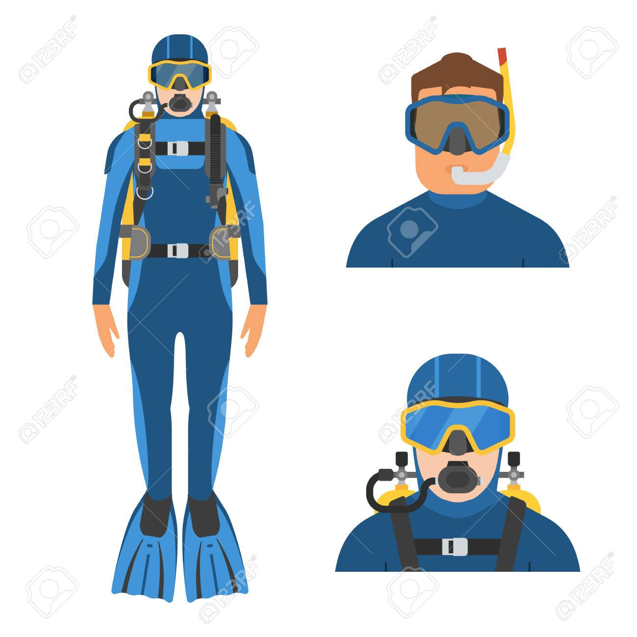 scuba diver man in wetsuit in full height aqualanger and snorkeler rh 123rf com Lunch Bag Clip Art Water Bottle Clip Art