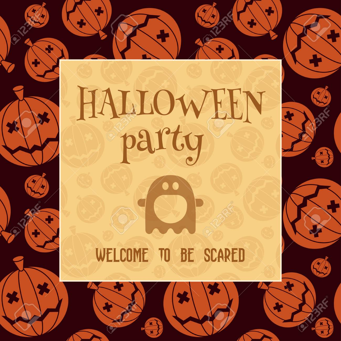 Halloween Party Invitation Card. Pumpkin Night Invite Card Template ...