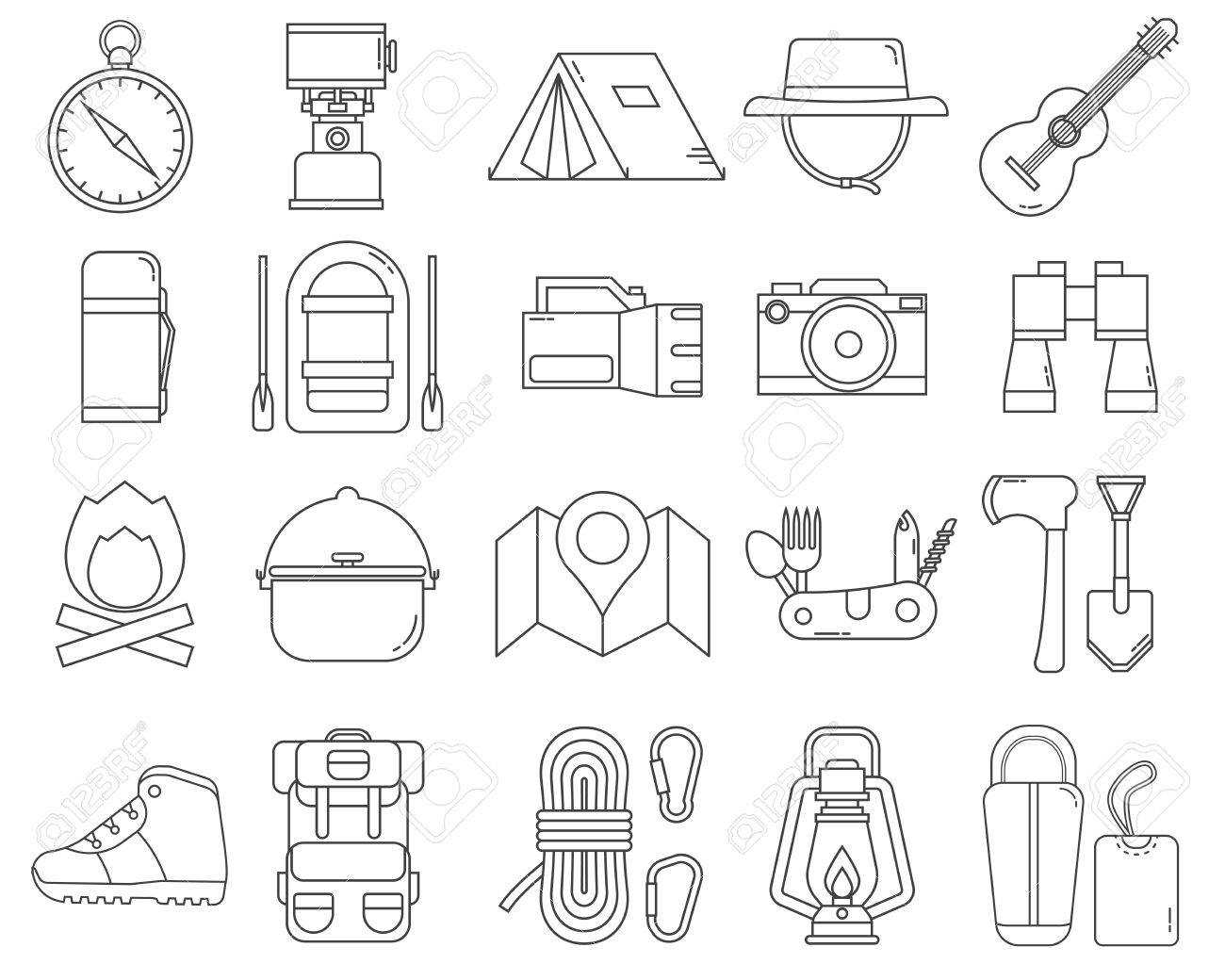 Camping Monoline Icons Collection Hike Outdoor Thin Line Elements Hiking Gear And Essentials Lineart