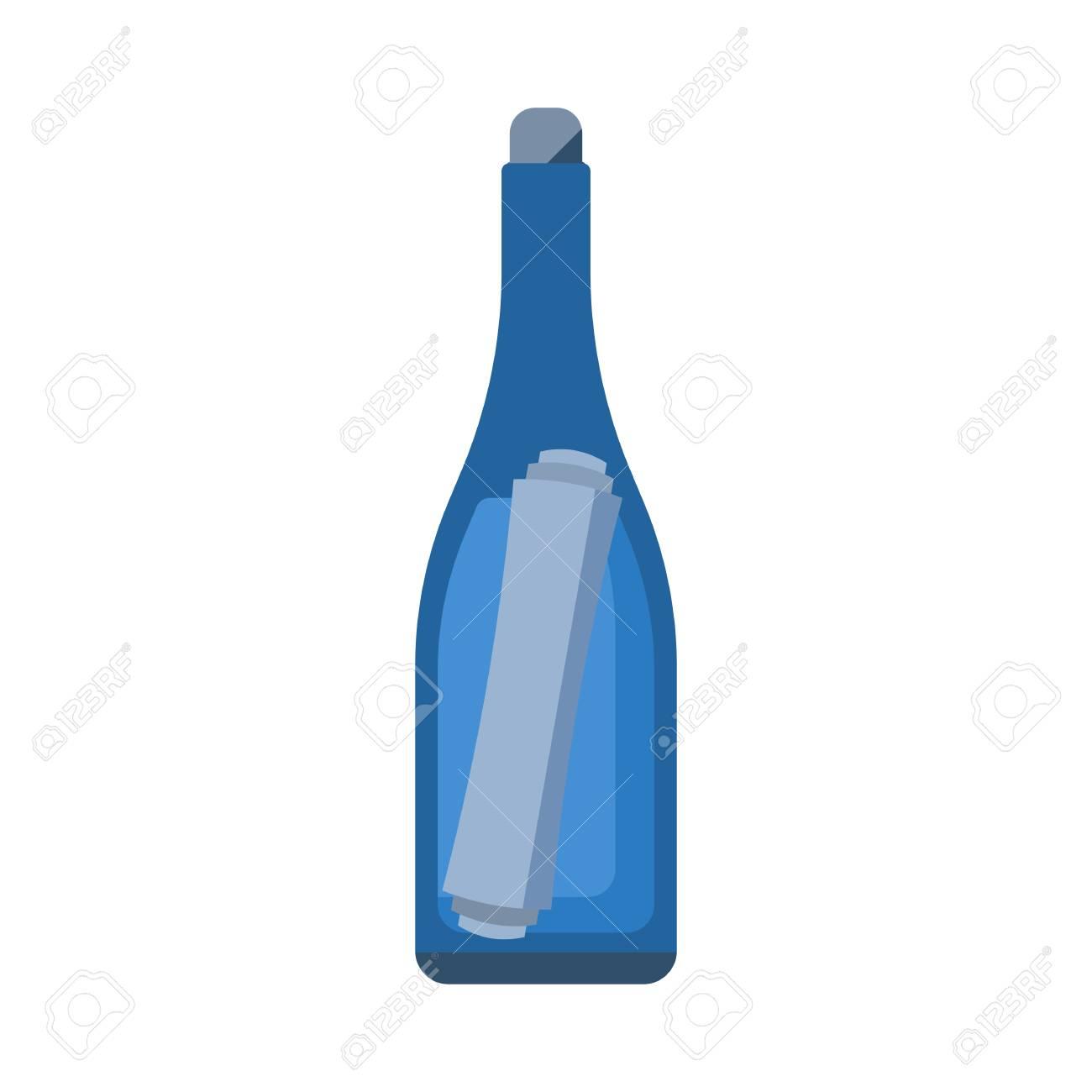 bouteille en verre avec la note vecteur icône. rescue lettre flottant dans  une bouteille isolé sur fond blanc. shipwreck un message illustration