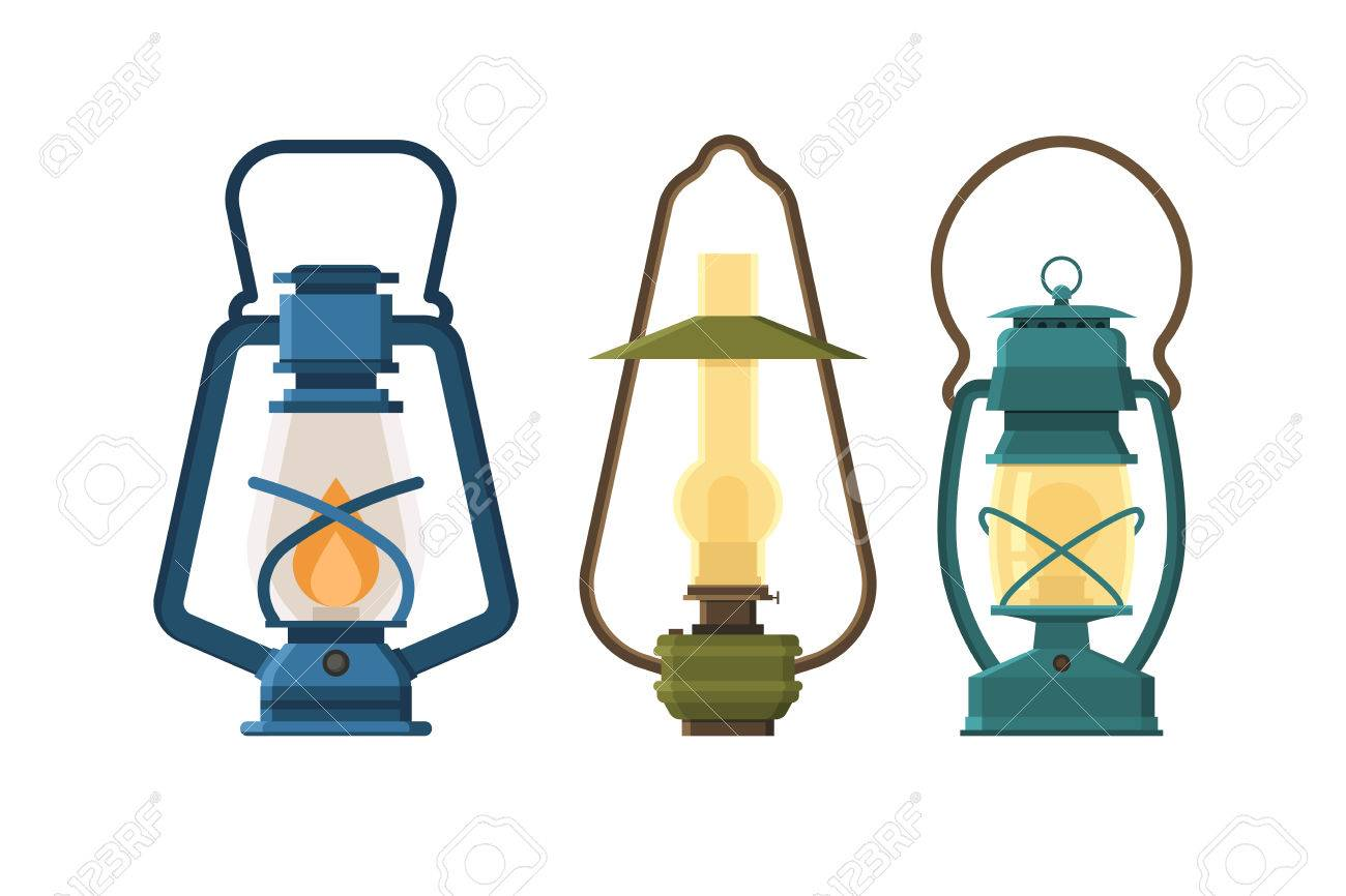 Different Camping Lamp Collection. Modern And Retro Lanterns Vector  Illustration. Various Handle Gas Lamps For Tourist Hiking.
