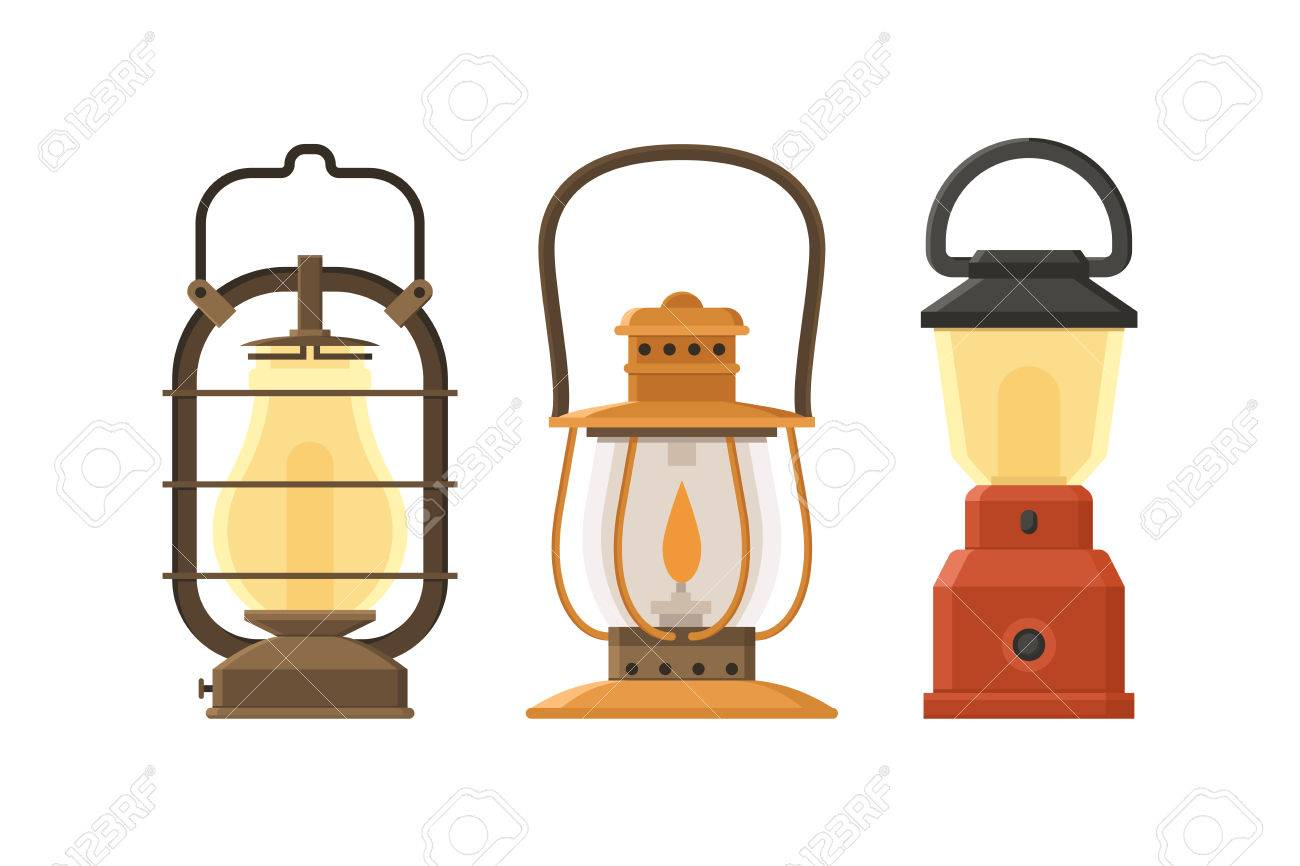 Vintage Oil Lantern Set Isolated On White Background. Different ... for Oil Lamp Clip Art  111ane