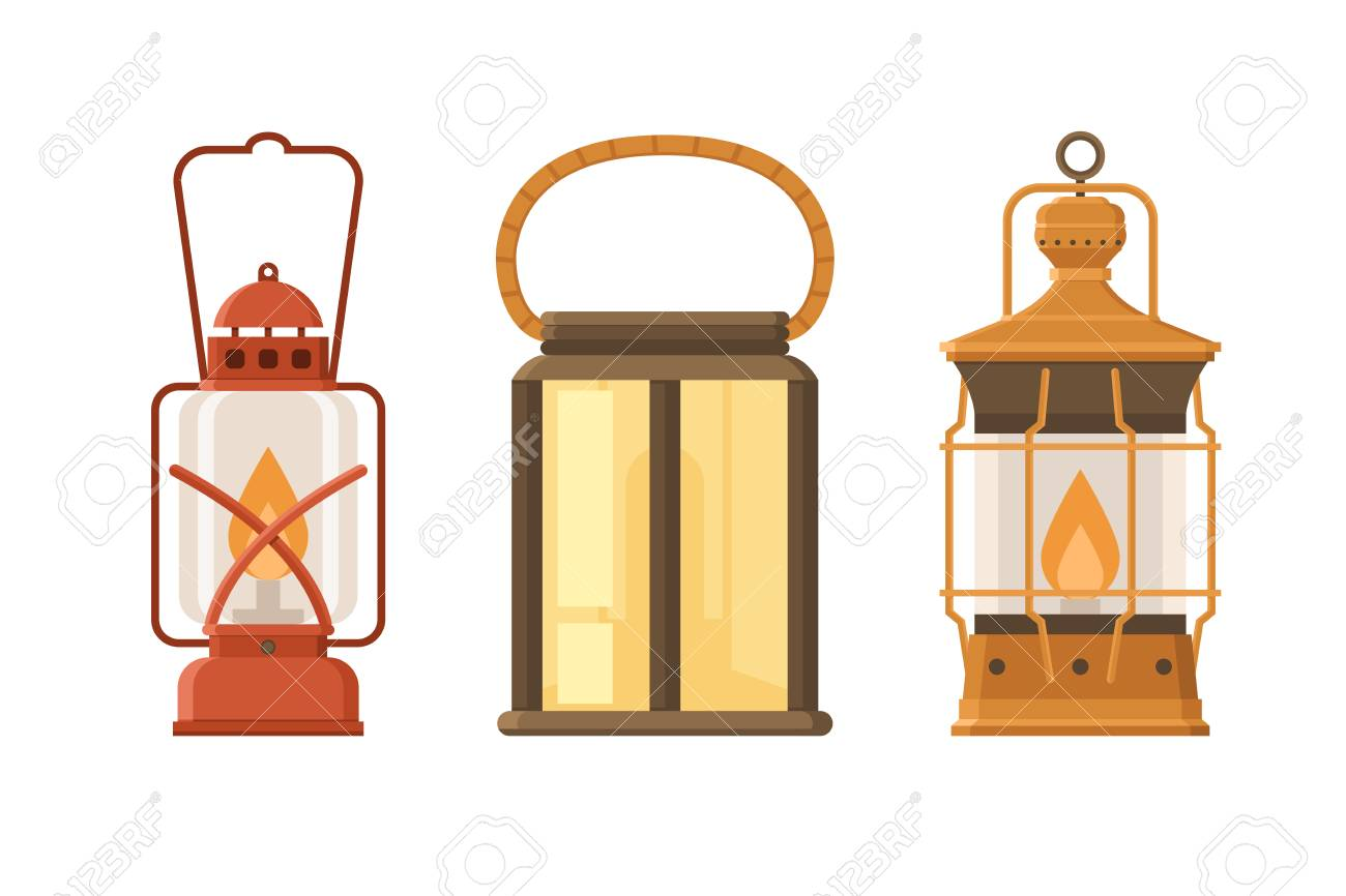 Vintage Oil Lantern Set Isolated On White Background. Different Camping Lamp  Collection. Modern And
