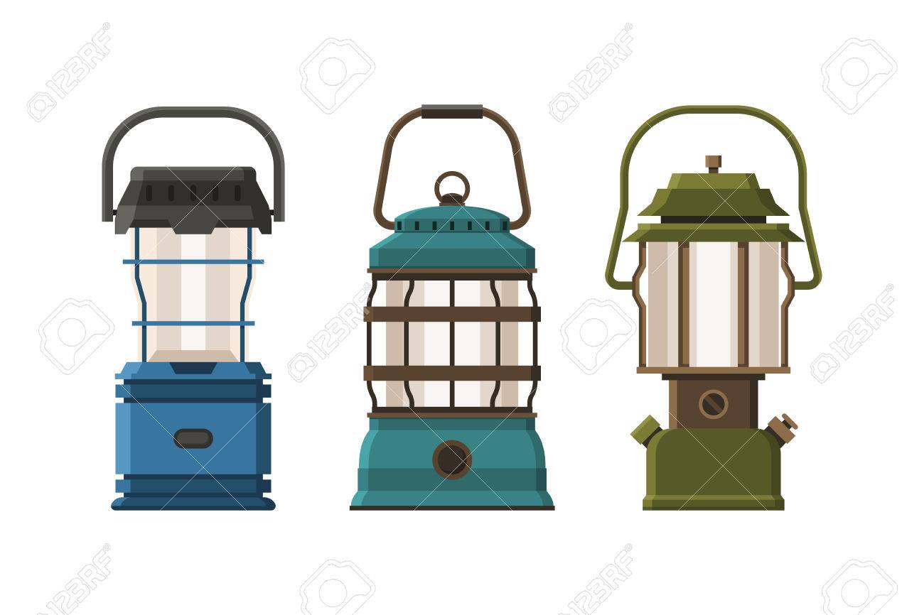 Vintage Diode Lantern Set Isolated On White Background. Different Camping  Lamp Collection. Modern Lanterns