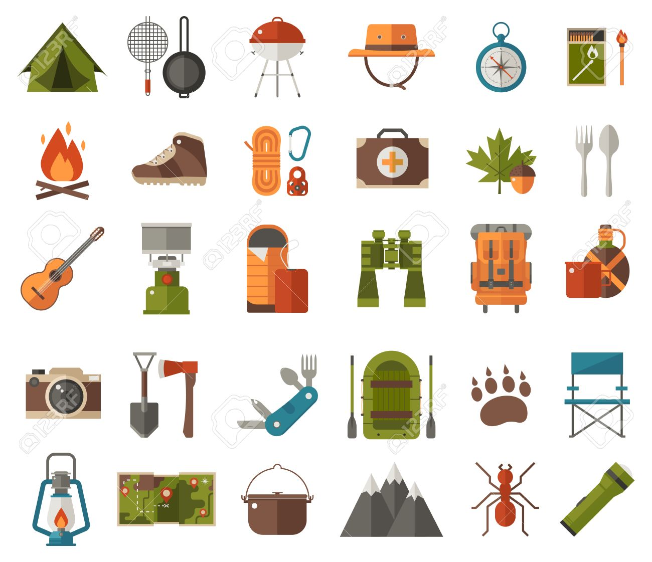 Camping Icon Set Camp Gear And Adventure Activity Elements Hiking Icons Collection Binoculars