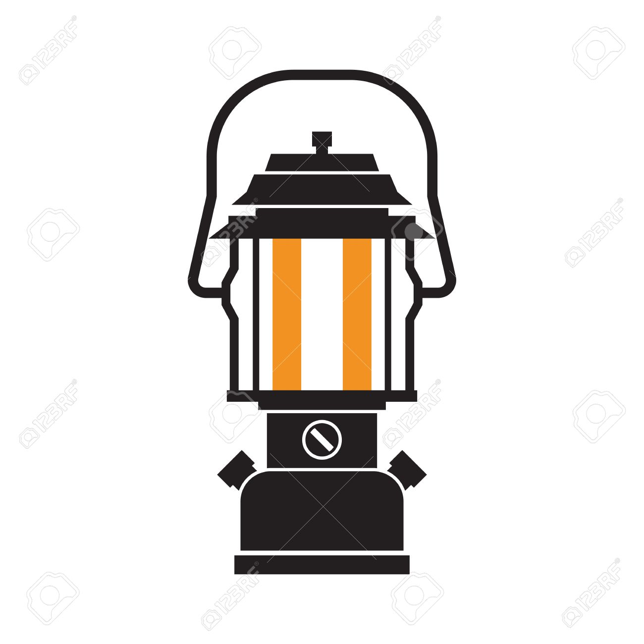 Modern Lamp With Glowing Fire Wick Diode Tourist Lantern Outline Vector Illustration Old For Hiking