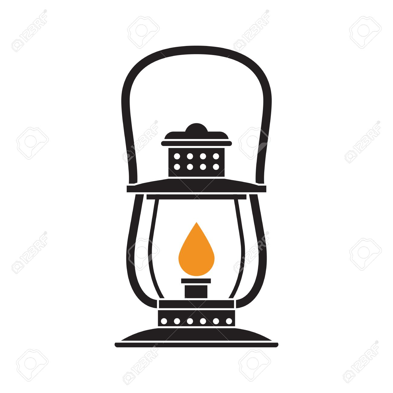 Retro Gas Lamp With Glowing Fire Wick Oil Lantern Outline Vector Illustration Old For Hiking