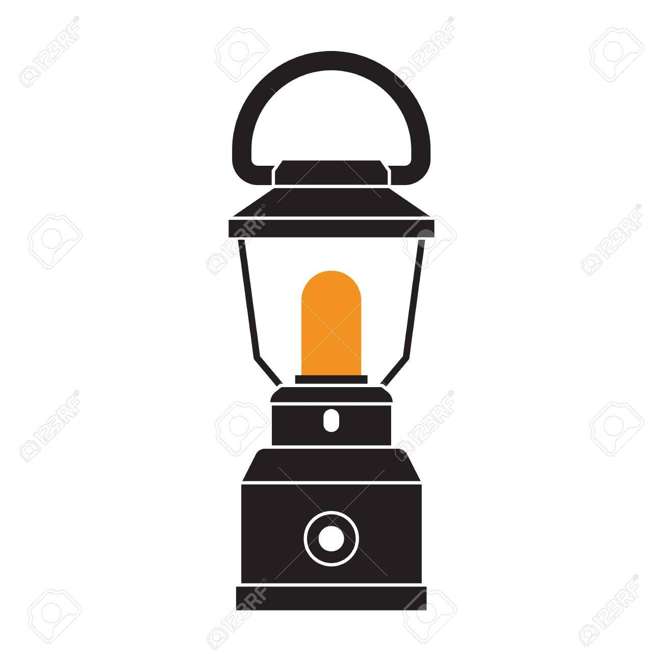 Vintage Camping Lantern Silhouette Isolated On White Background
