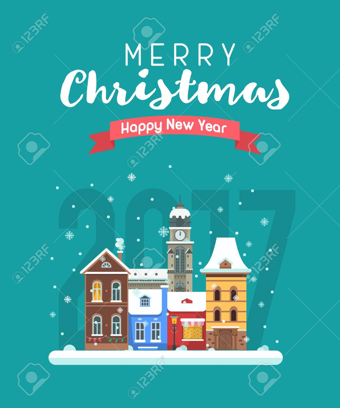 Vector Christmas Wishing Card With Traditional Celebrating Text