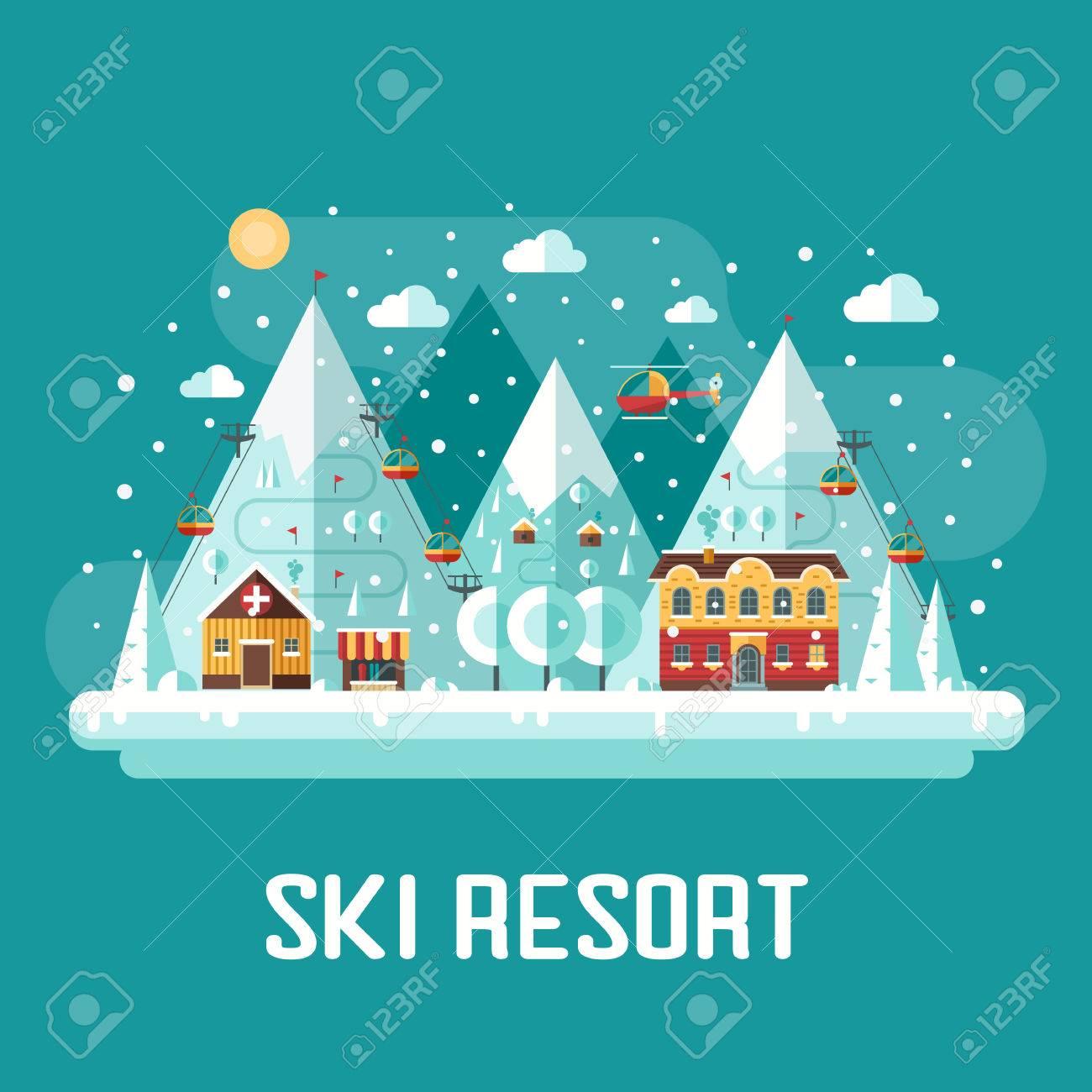 Winter Vacation Flat Landscape Mountain Ski Resort Concept Scene