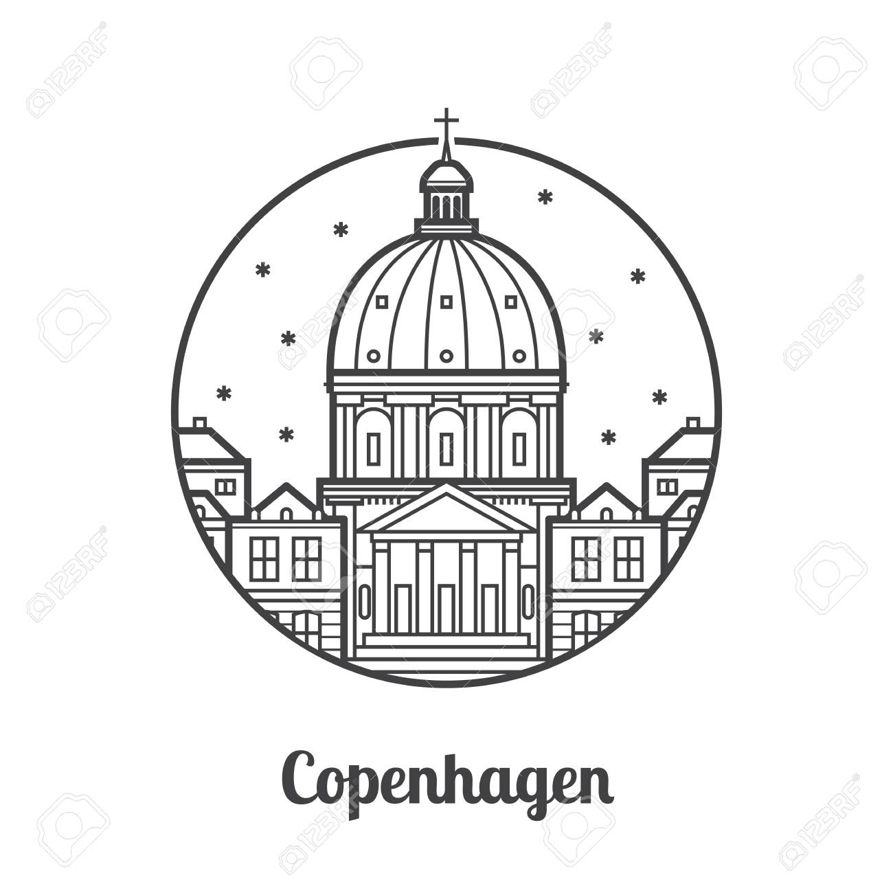 Travel Copenhagen Icon. Marble Church And Royal Palace Is One ... for Marble Clipart Black And White  53kxo