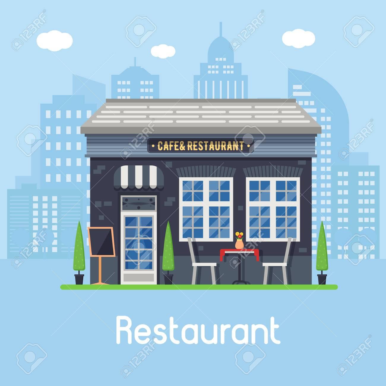 Tienda De Café Al Aire Libre Con Terraza De Verano Y Mesa Con Sillas Sobre Fondo De La Ciudad Moderna Restaurante Del Restaurante De La Calle En