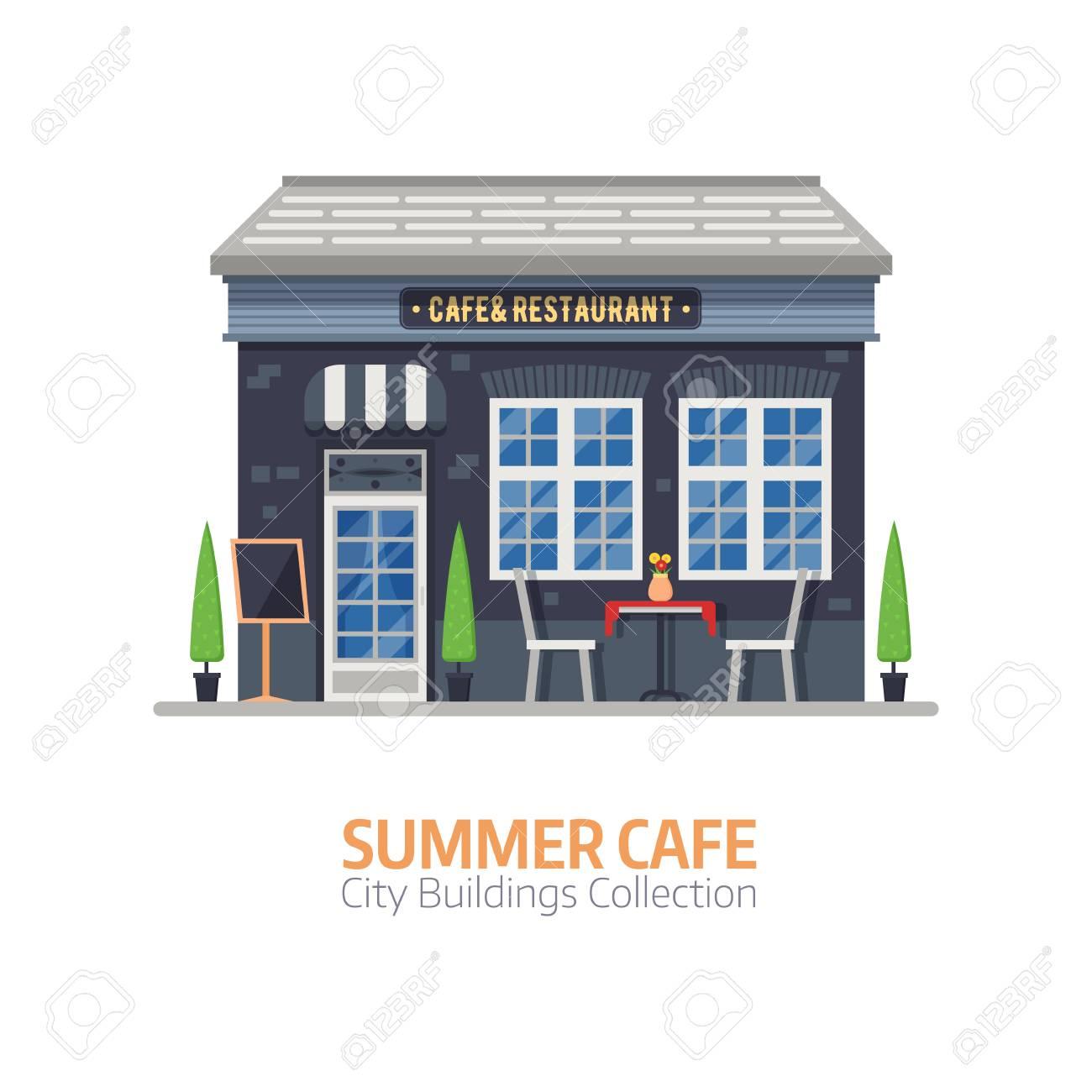 Tienda De Café De Verano Con Terraza Al Aire Libre Y Mesa Con Sillas Calle Restaurante Edificio Fachada En Diseño Plano Elemento Constructor De La
