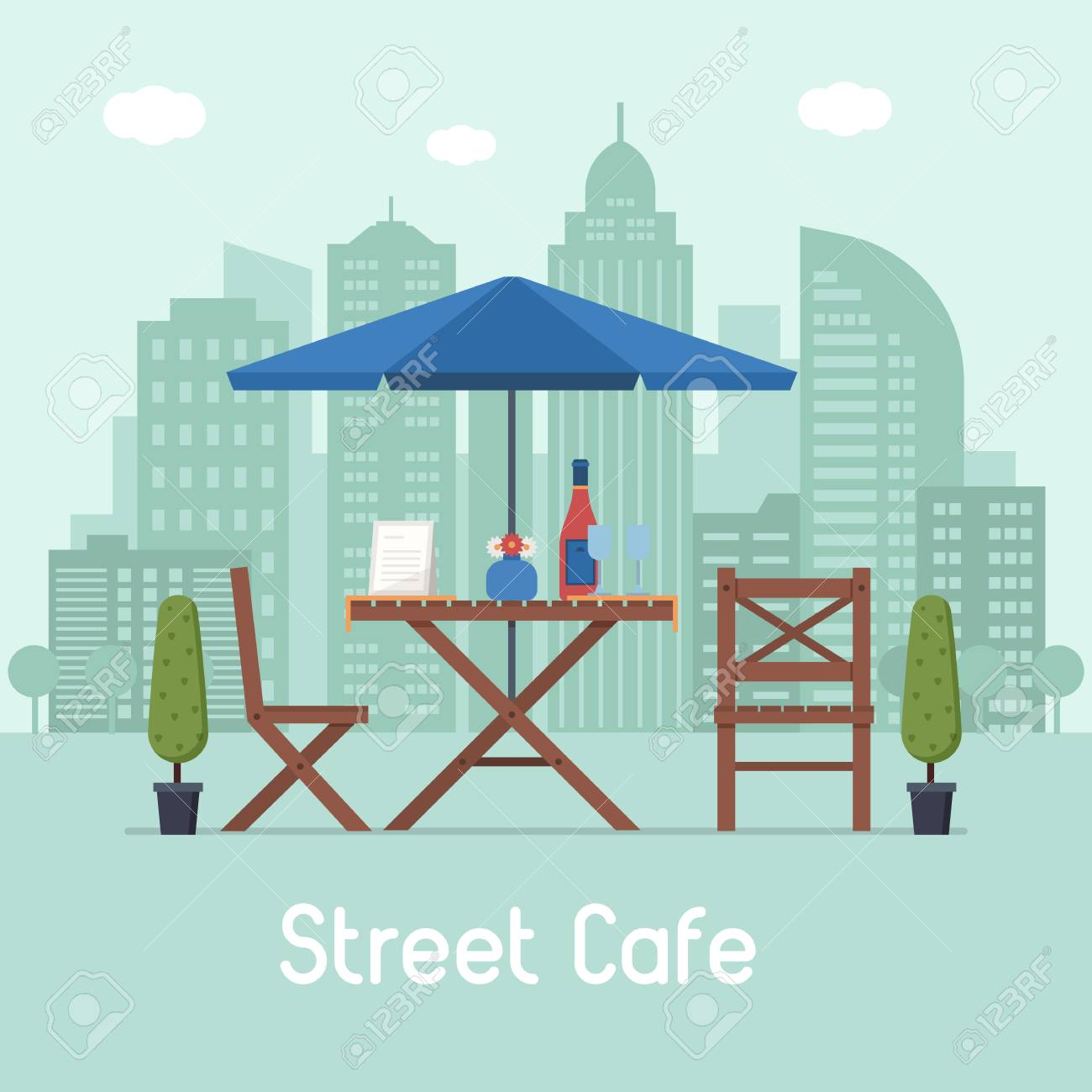 Summer Outdoor Cafe Terrace With Seats Under Parasol On Modern Royalty Free Cliparts Vectors And Stock Illustration Image 73788339