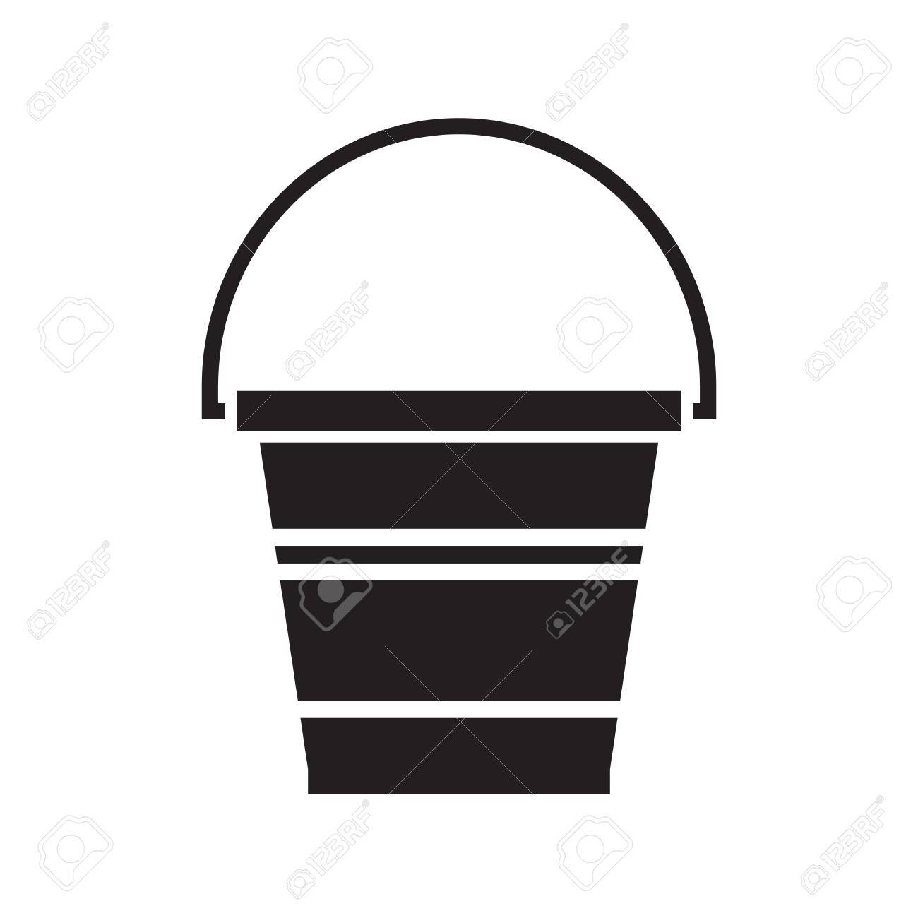 Garden Bucket Outline Icon. Water Pail Metal Container Silhouette For  Gardening Or Housework. Stock