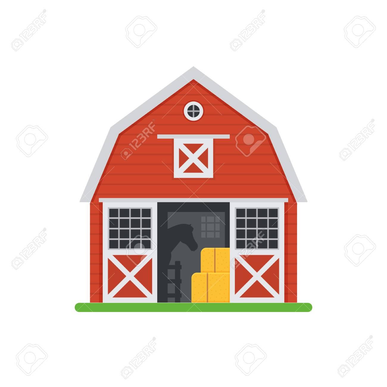 Ilustración Del Vector Del Granero Del Caballo Rojo Construcción De Establos De Madera Con Puertas Abiertas Y Pajar Antiguo Graneros De Caballos