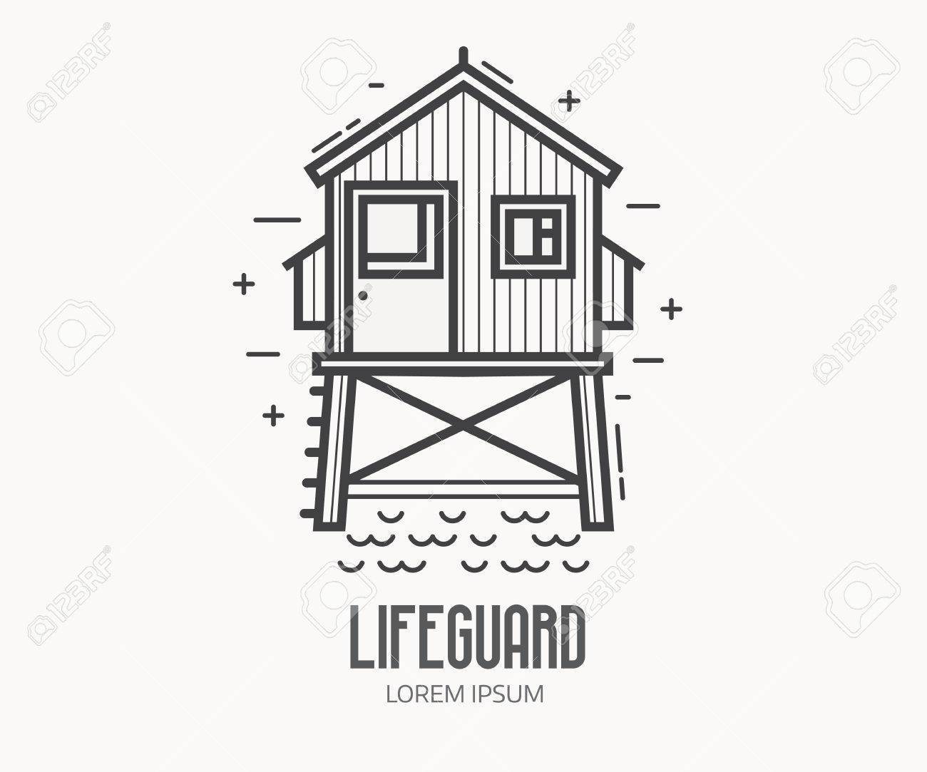 Beach Lifeguard Logo In Thin Line Design. Life Guard House Or ...
