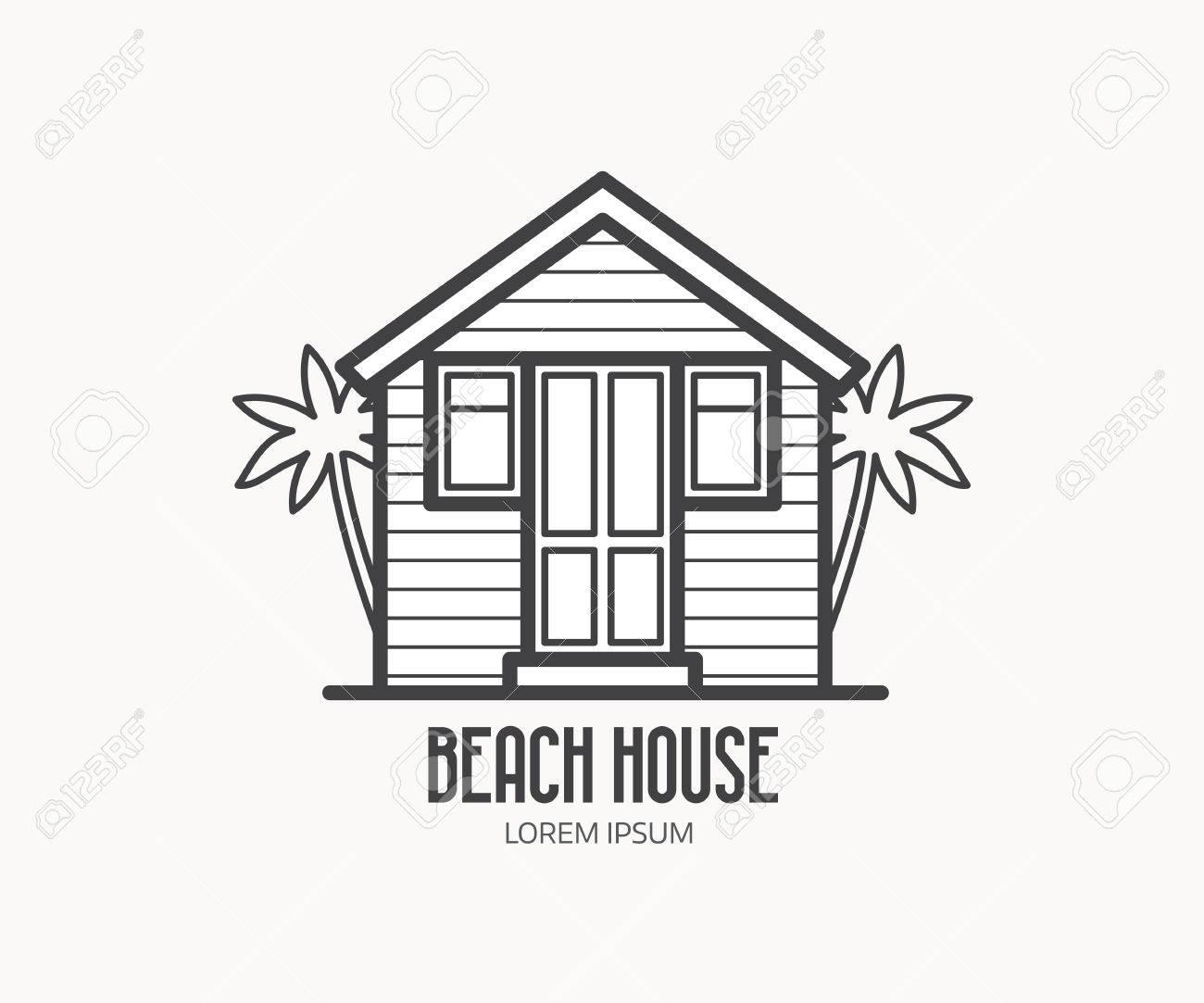 Summer Bath House Vector Illustration. Beach House Logo Or Label ...