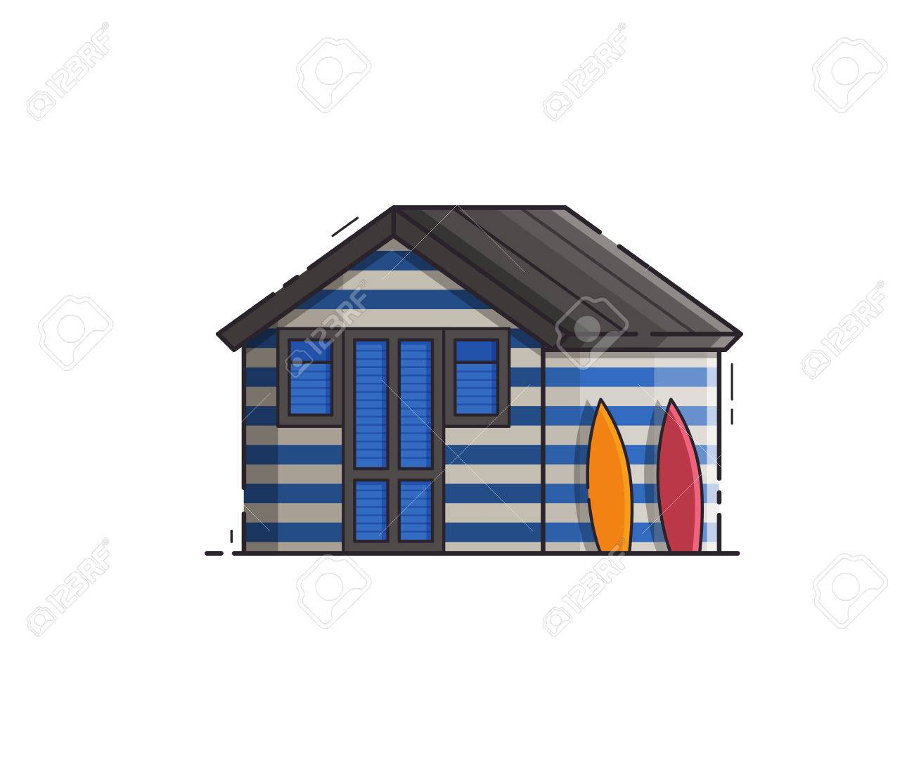 Blue Striped Beach Hut Isolated On White Background Summer Bath House Vector Illustration In Flat