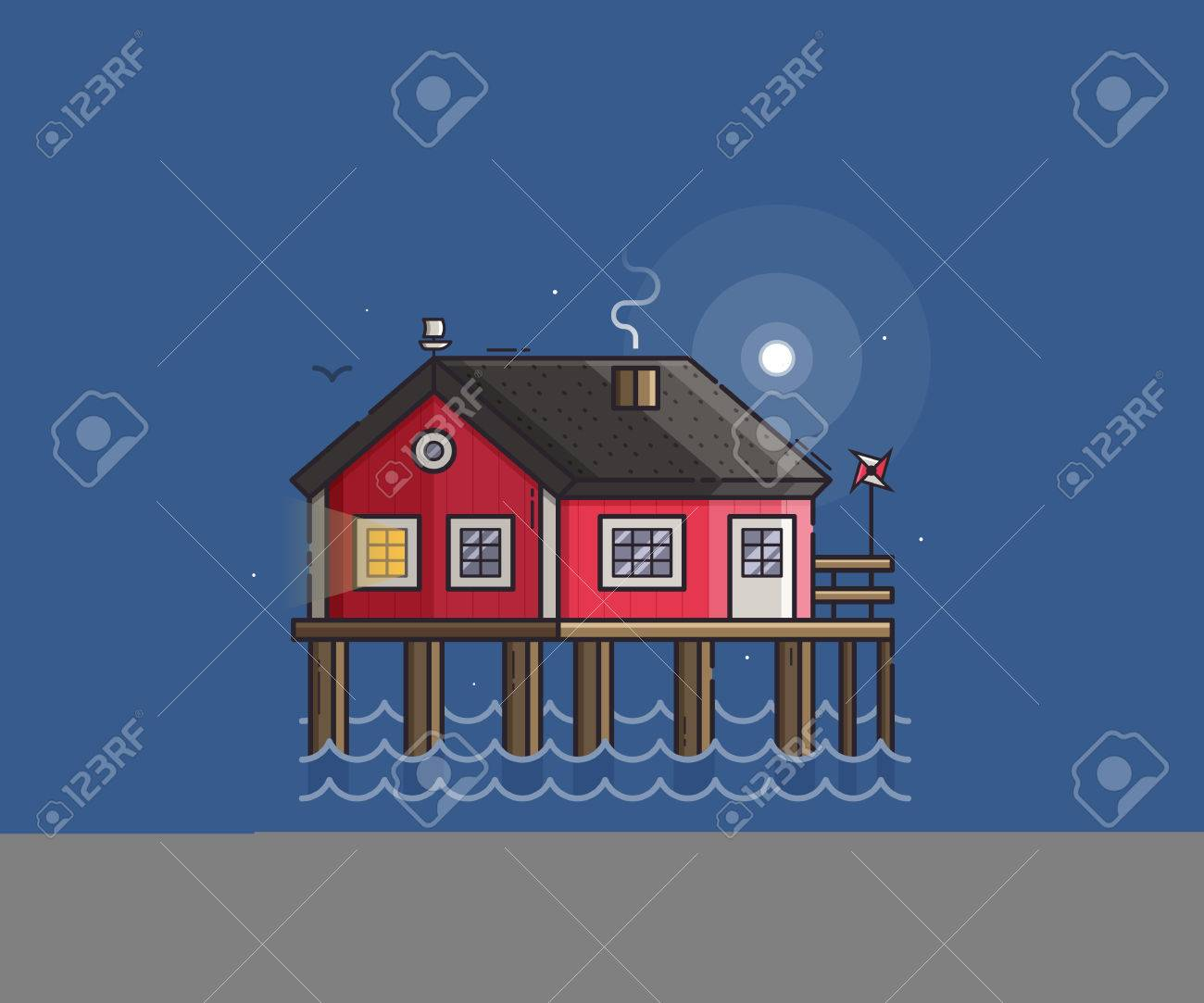 illustration sea side landscape with red stilt house with smoking chimney by moonlight beach pier home building night scene vector illustration - Smoking House Designs