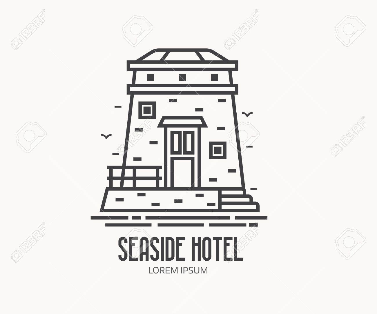 Seaside Hotel Or Label Template In Linear Style. Sea Observation ...
