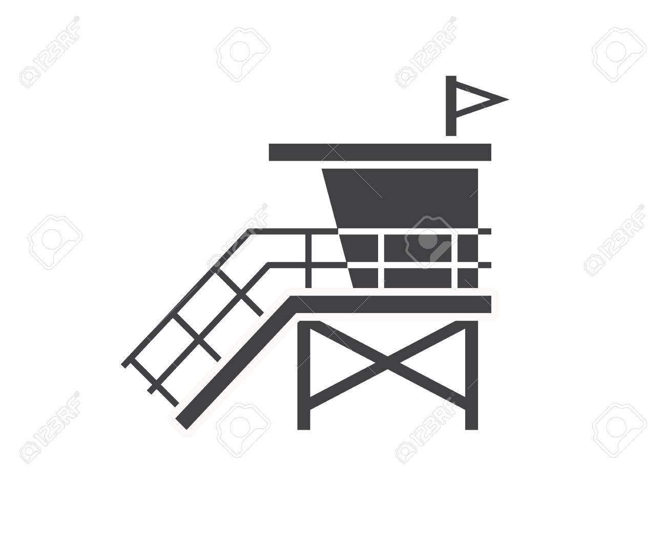 Sea Life Guard Tower Icon. Beach Lifeguard House Or Label Template ...