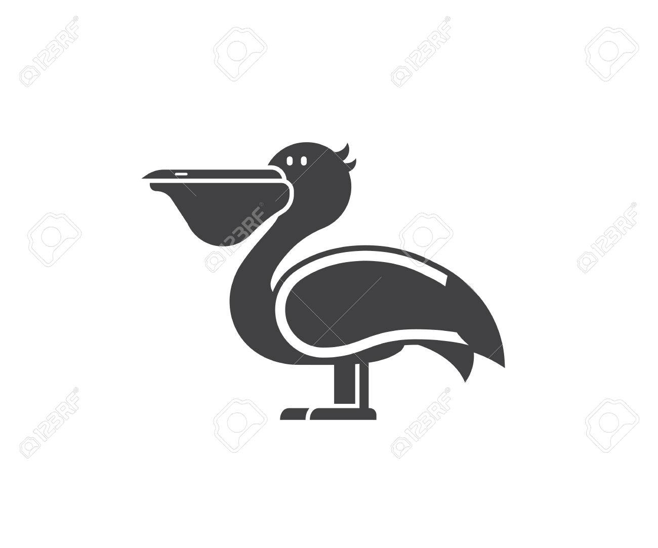Pelican Icon In Outline Design. Large Sea Bird Logo Or Label Template In  Linear Style  Large Label Template
