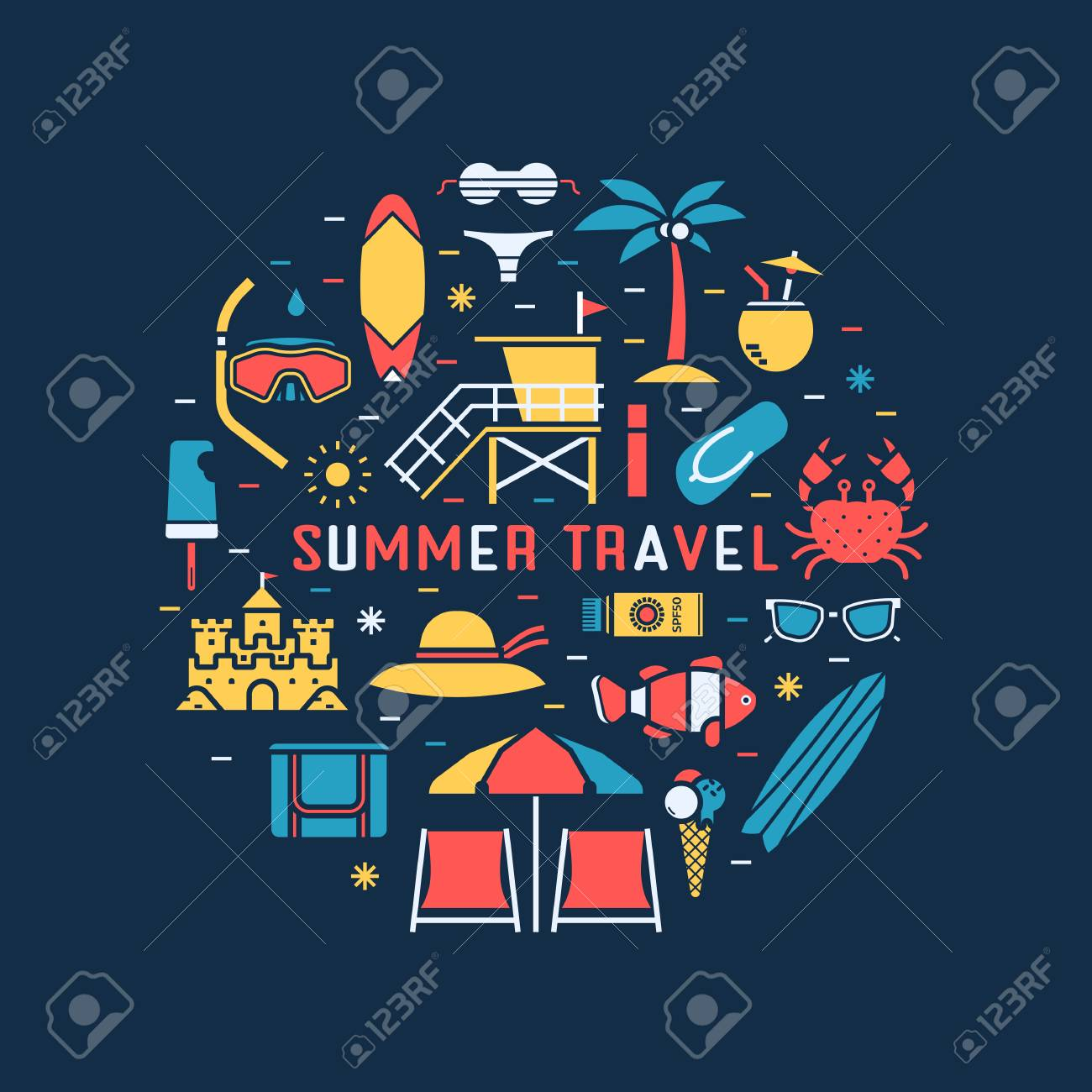 Summer travel concept background with sea beach icons in circle. Summertime tropical holidays collection in linear style. Sunbathing accessories and beach activity elements vector illustration. Foto de archivo - 79166229