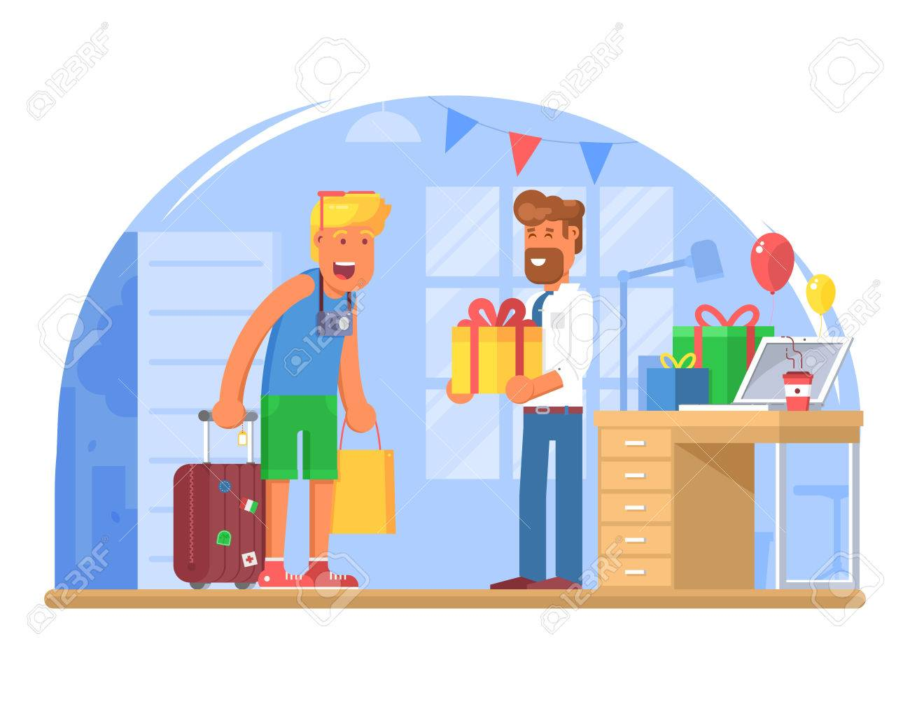Manager Meet Employee Returning From Holidays Boss Congratulate Office Worker With Happy Birthday Giving Gift Box