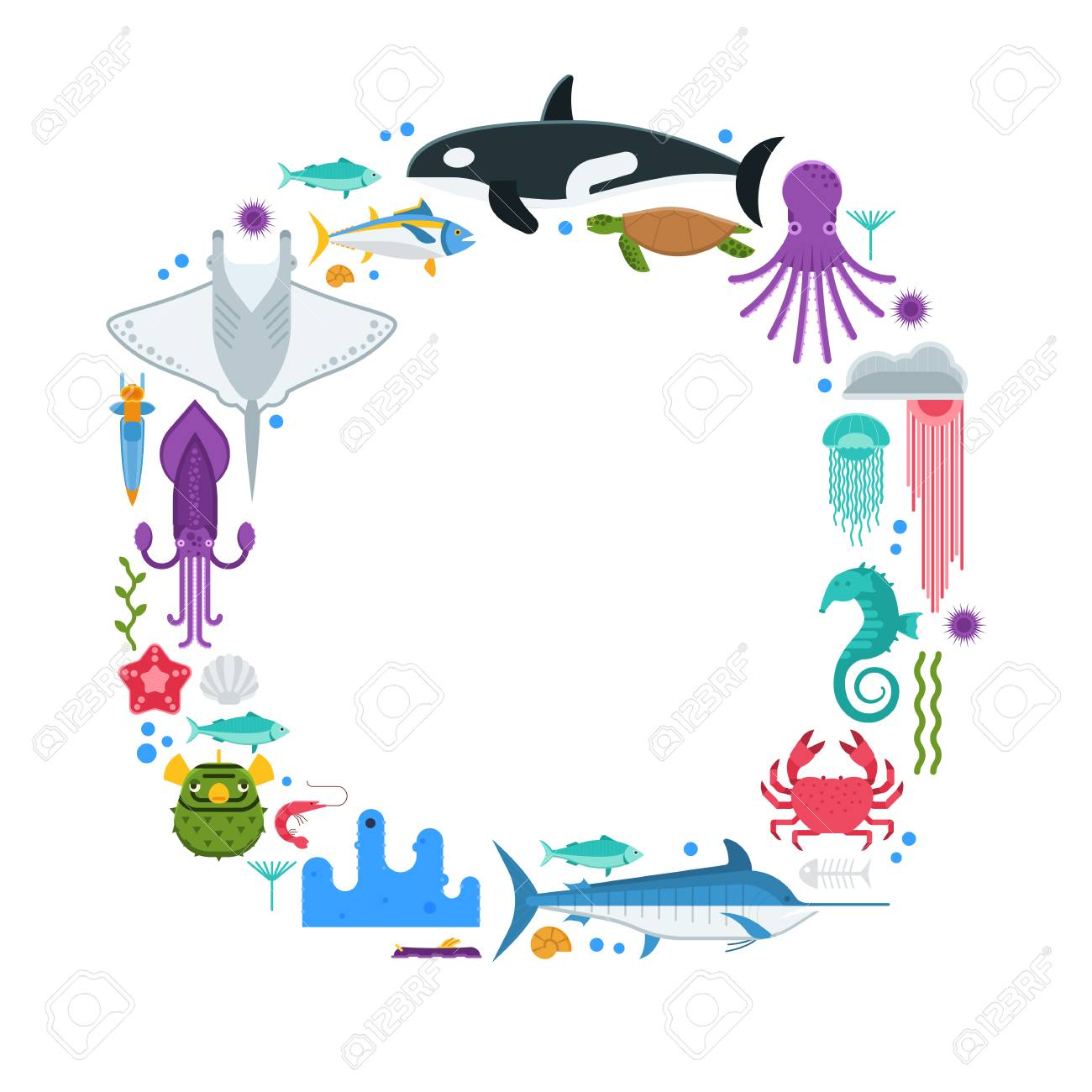 Marco De Texto Oceanográfico Con Animales Marinos Y Peces ...