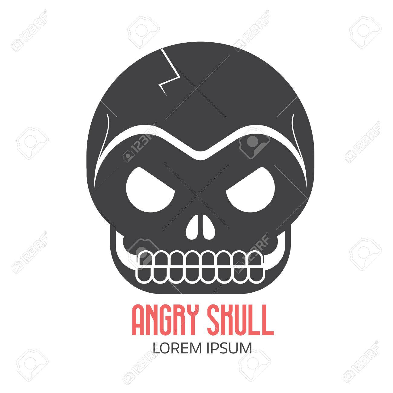 angry human skull logo or label template in black and white