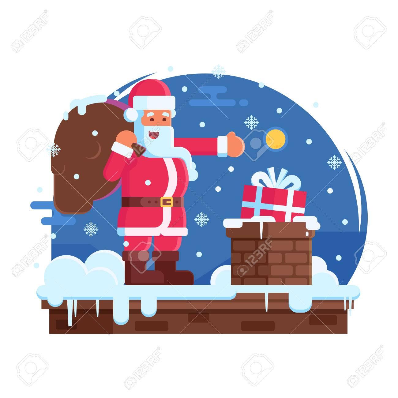 Scène de joyeux noël avec dessin animé père noël debout sur le dessus de la maison avec cadeau sous la neige