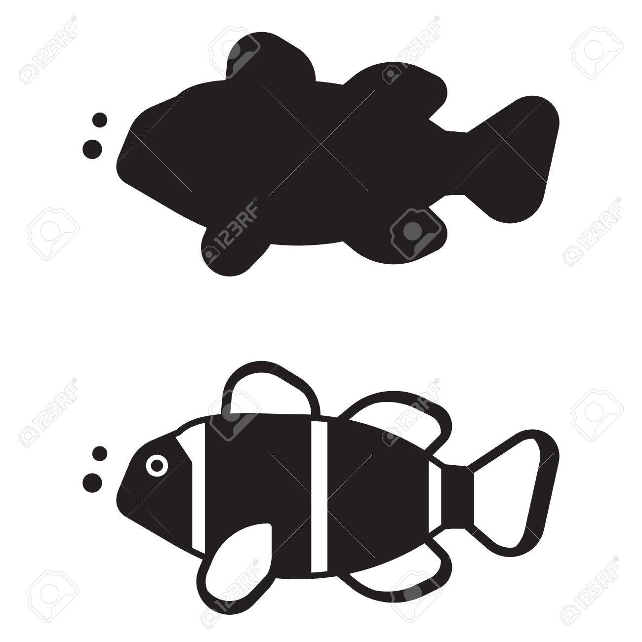 tropical coral fish vector icon in outline design striped clown
