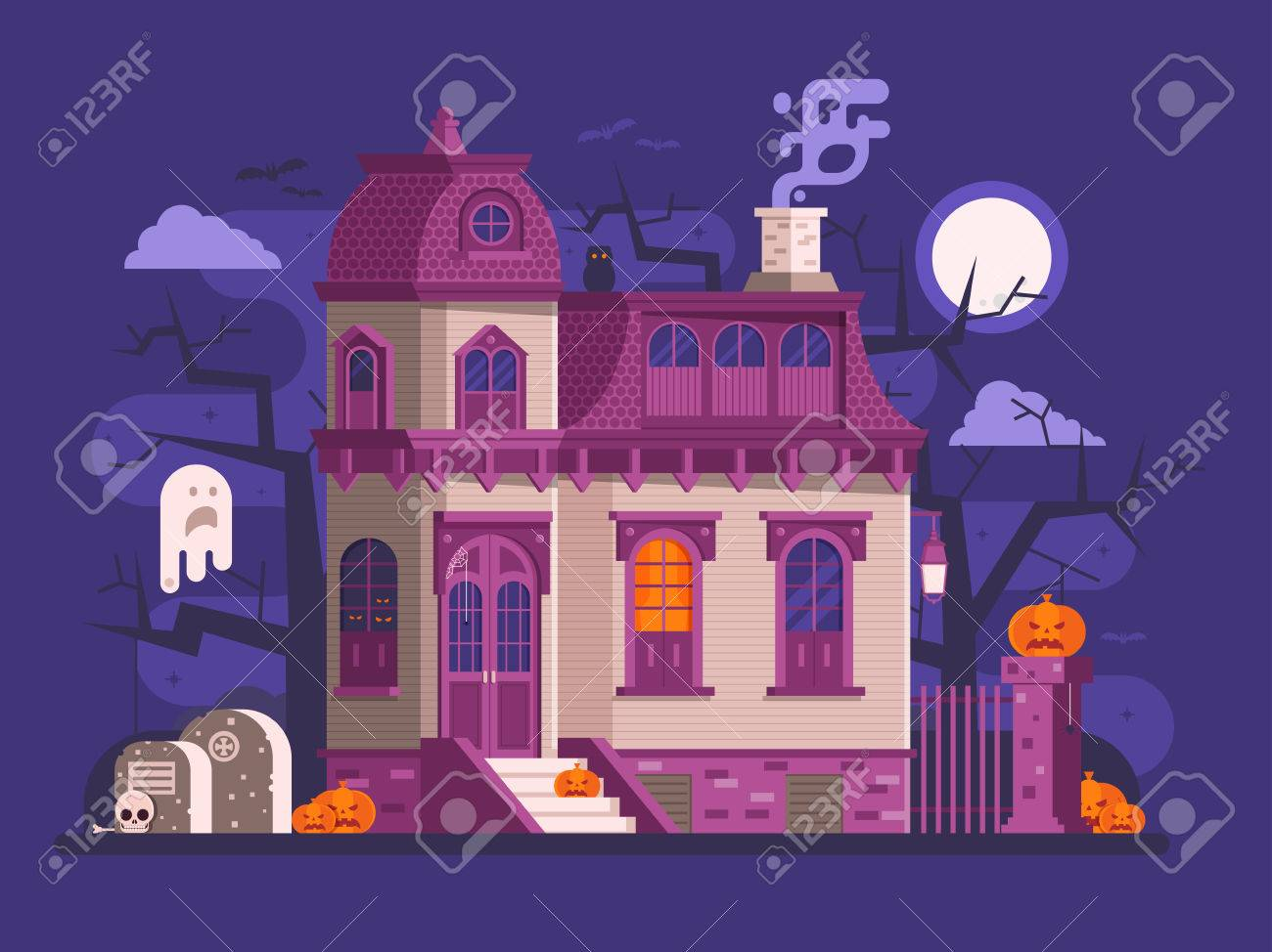 Halloween Ghost House Scene With Victorian Haunted Mansion Entrance Old Cemetery Spooks And Pumpkins