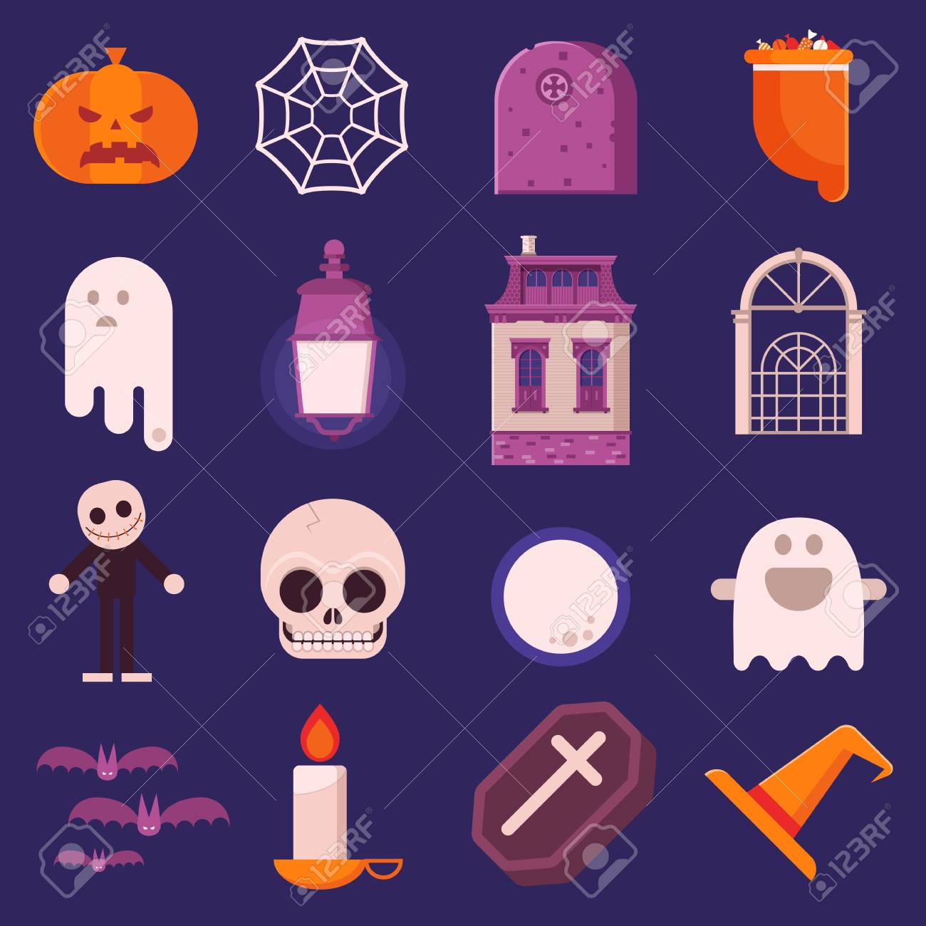 Halloween Vector Icons Set In Flat Design Including Sweets Bag
