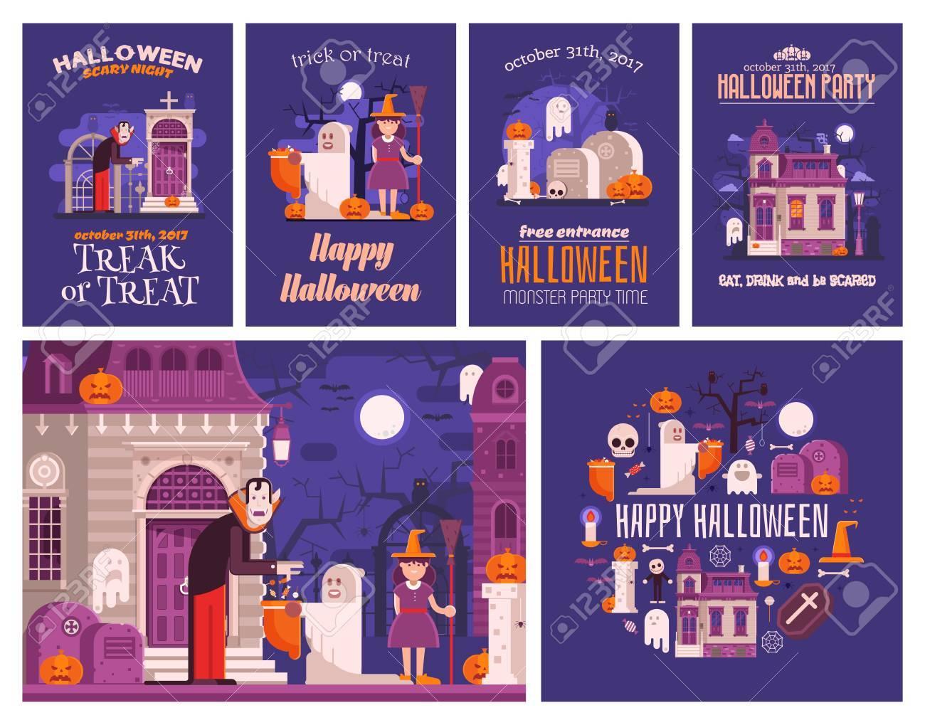 Halloween-Konzept-Karten Und Illustrationen Festgelegt. Halloween ...