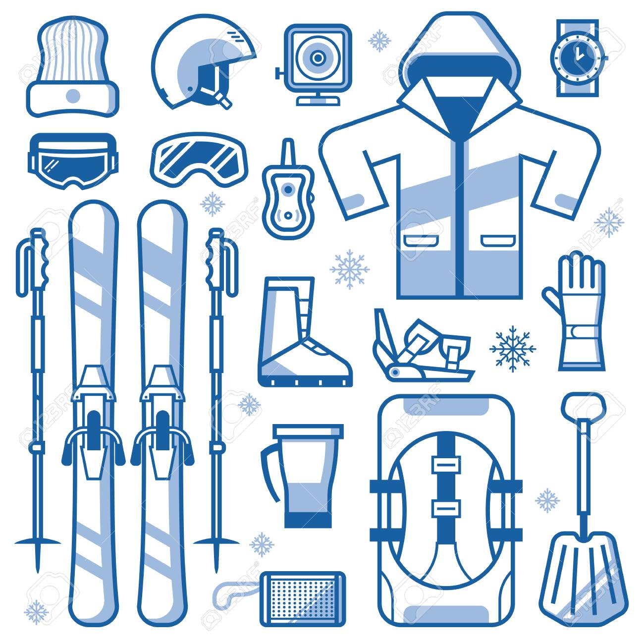 avalanche rescue set  Mountain Skiing Gear And Accessories Collection. Ski Icons Set ...
