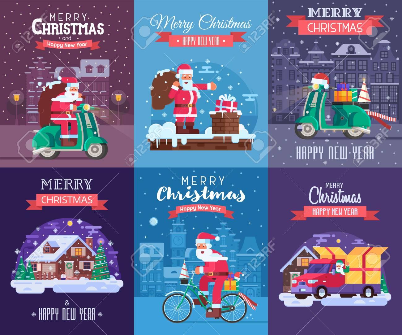 Grußkarten Der Frohen Weihnachten Und Des Guten Rutsch Ins Neue Jahr ...