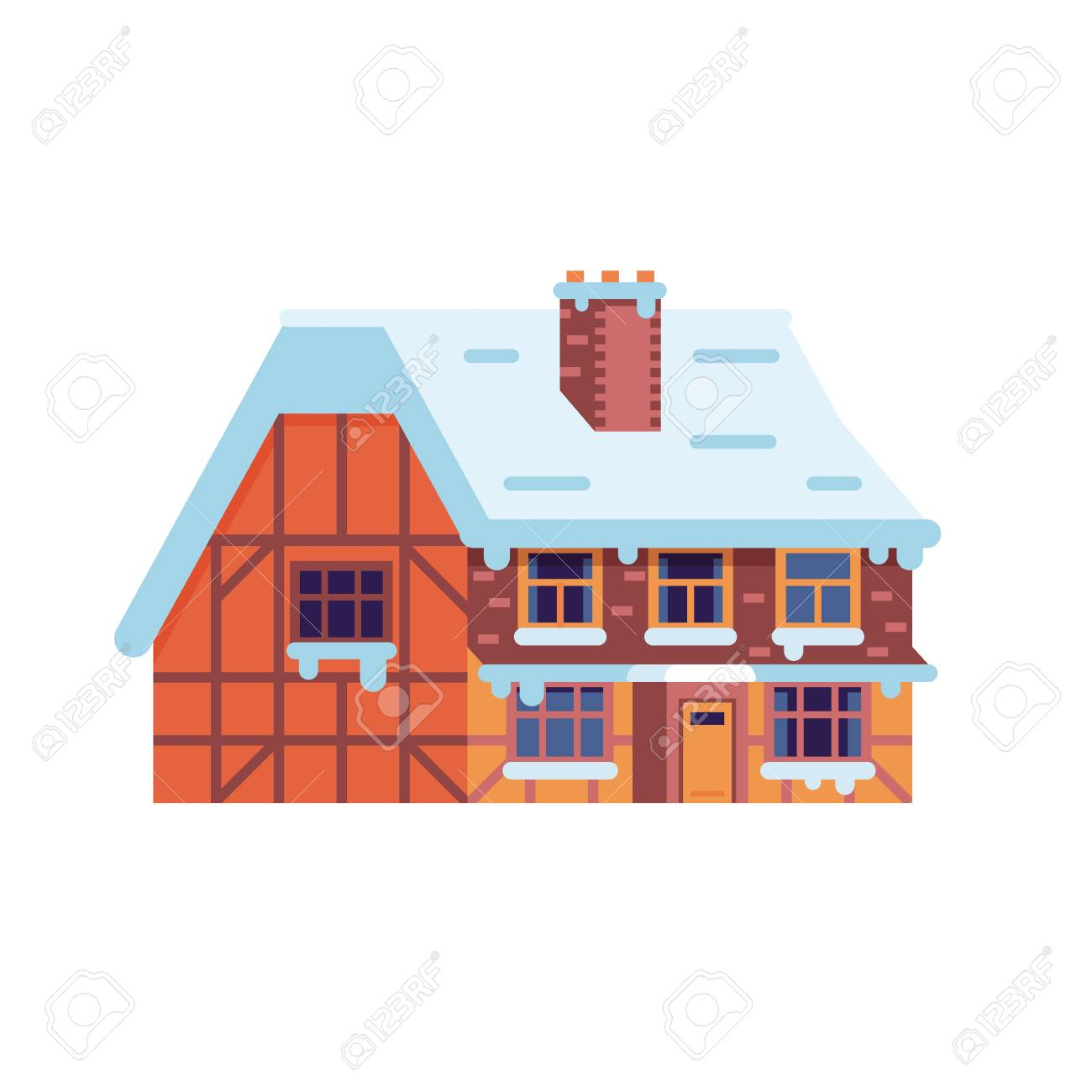 Countryside Winter House Smoking Chimney Icon Half Timbered Home Or Rural Snow Cottage Building