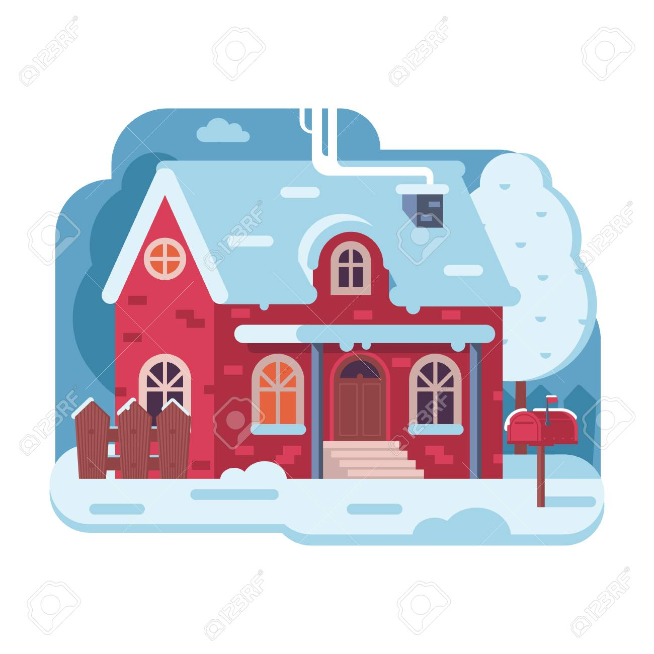 Snowy Scene With Red Farm Winter Home Smoking Chimney On Rural Background Cozy Cottage