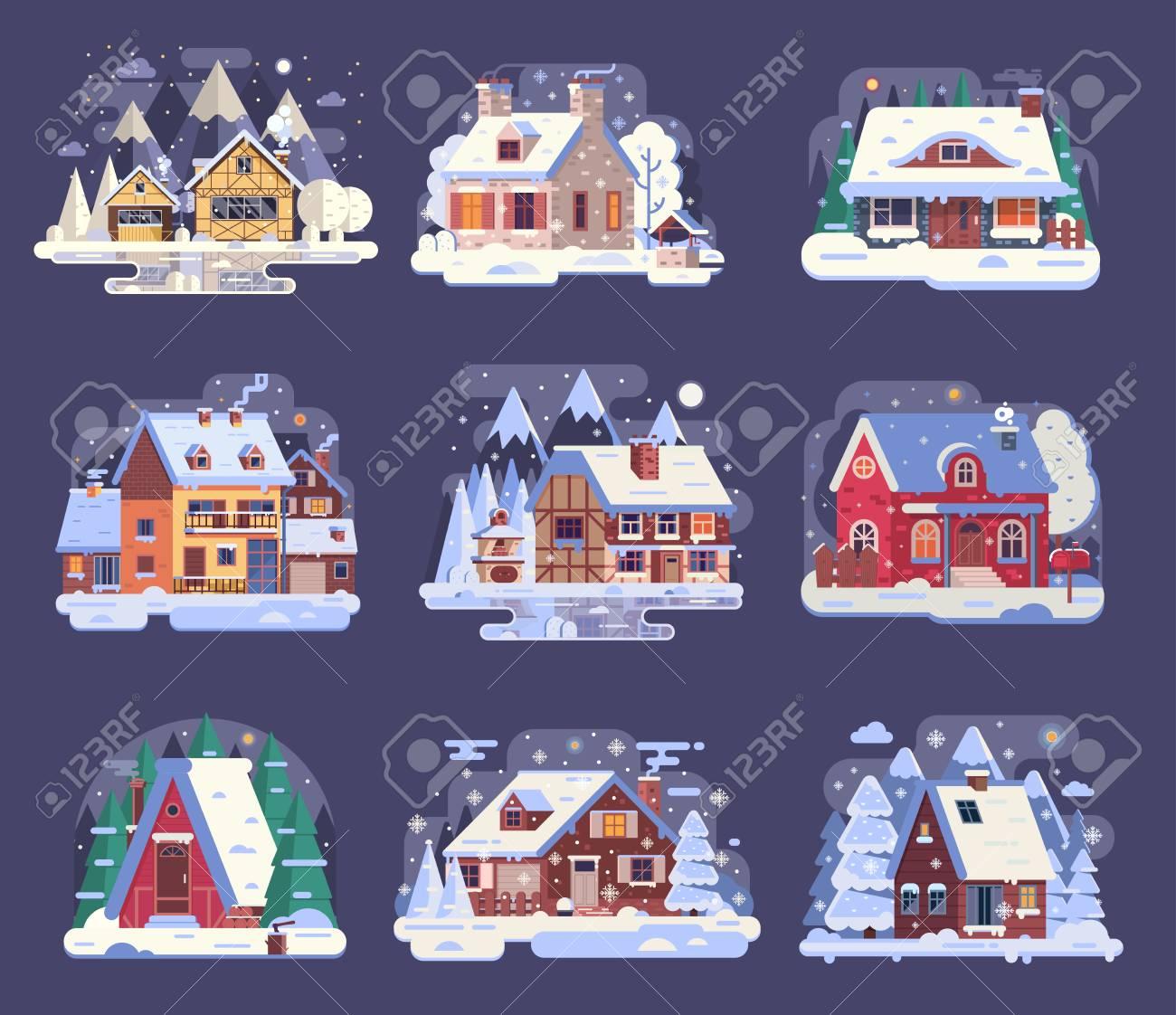 Collection de maisons de campagne et cabines dhiver dessin animé maisons de neige et ensemble de chalets ruraux y compris chalet en bois