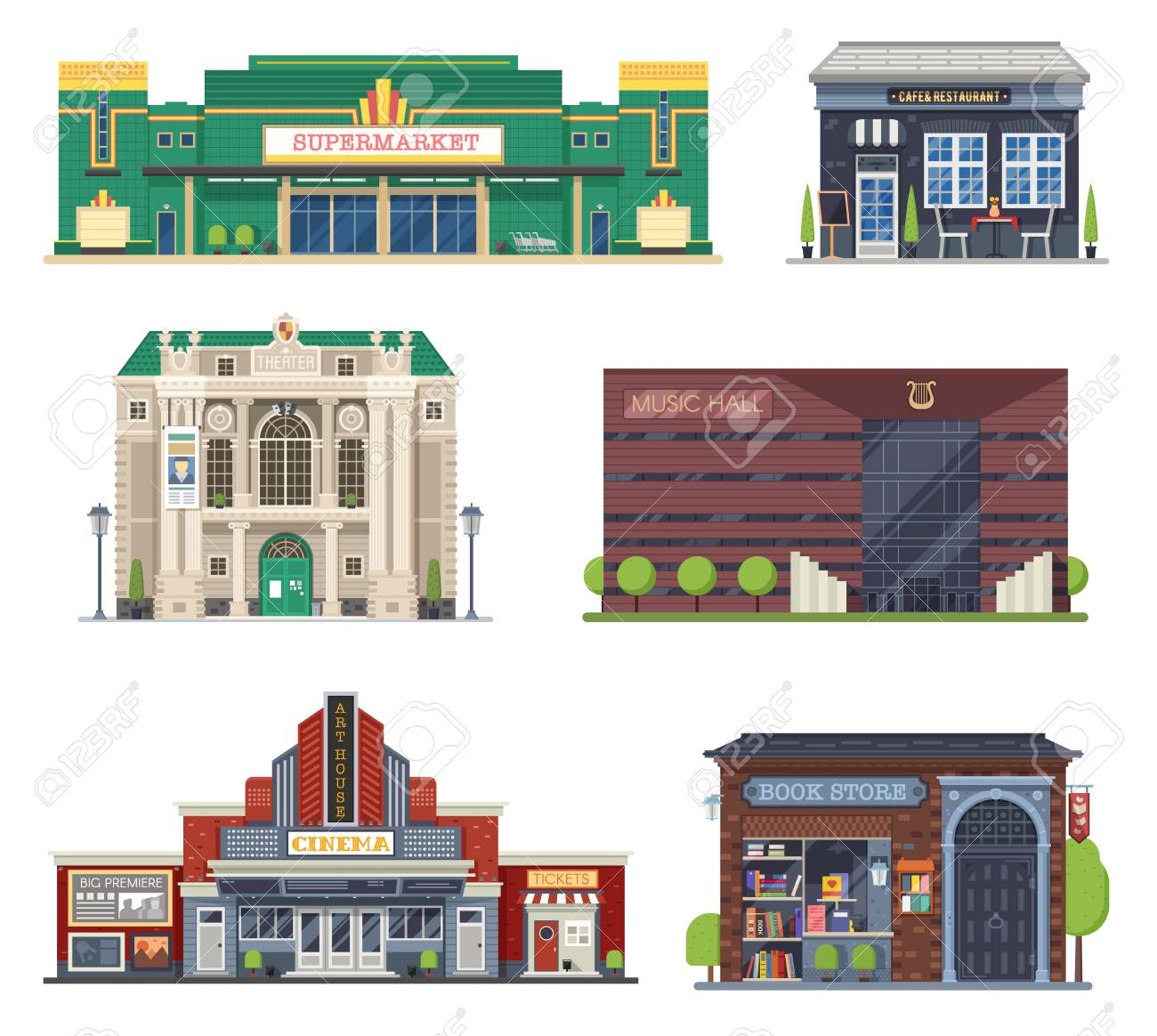 Cartoon City Public Buildings Collection For Culture And Entertainment Stock Photo Picture And Royalty Free Image Image 93874845