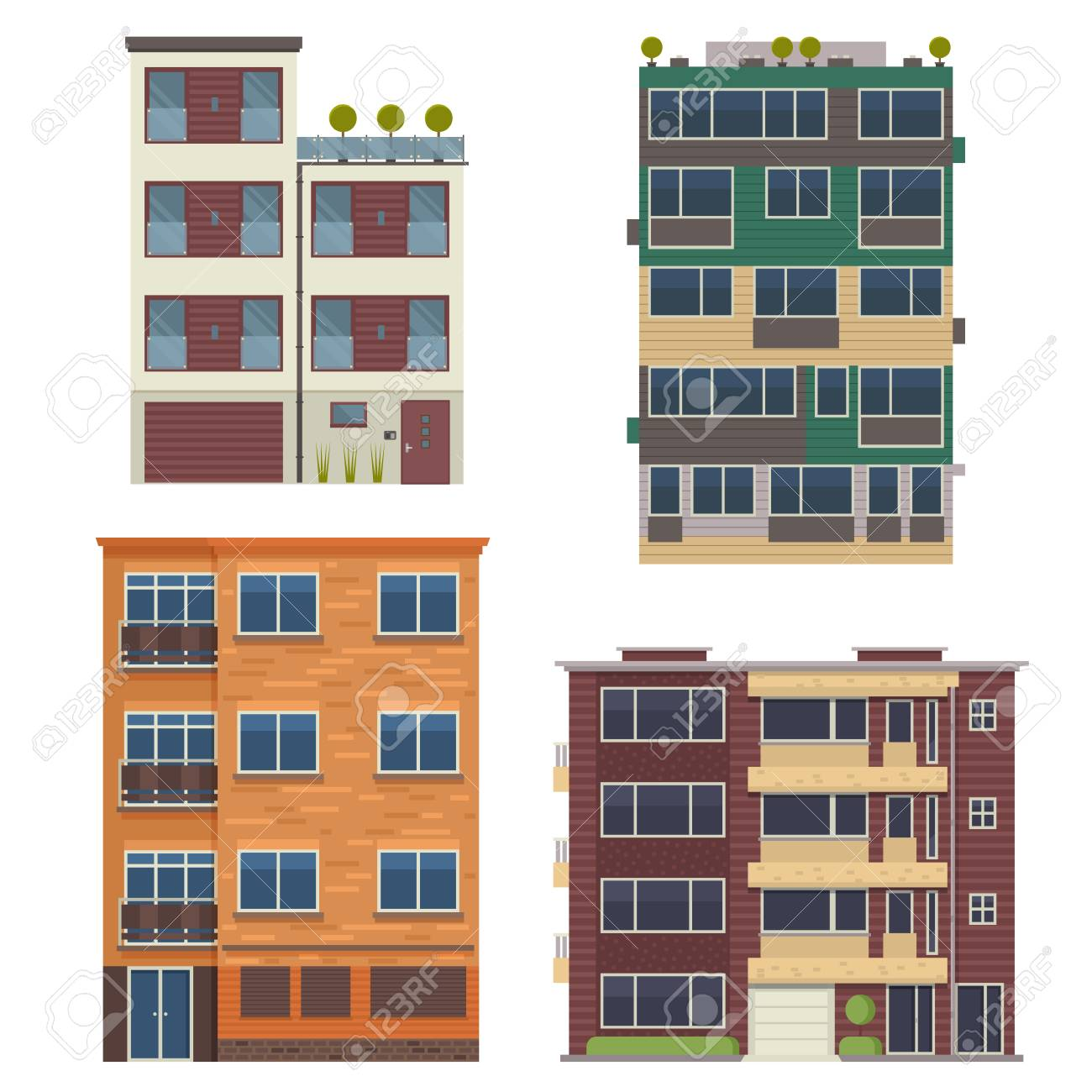 modern block city apartment buildings for town constructor or