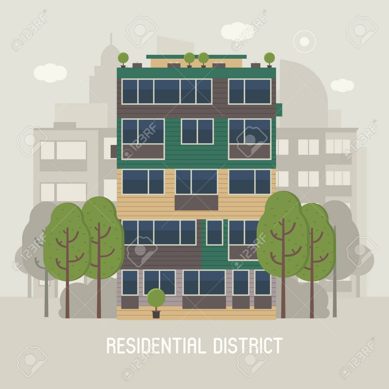 Apartment Building Front View On Urban Background. Modern Living House On  Town Landscape Vector Illustration