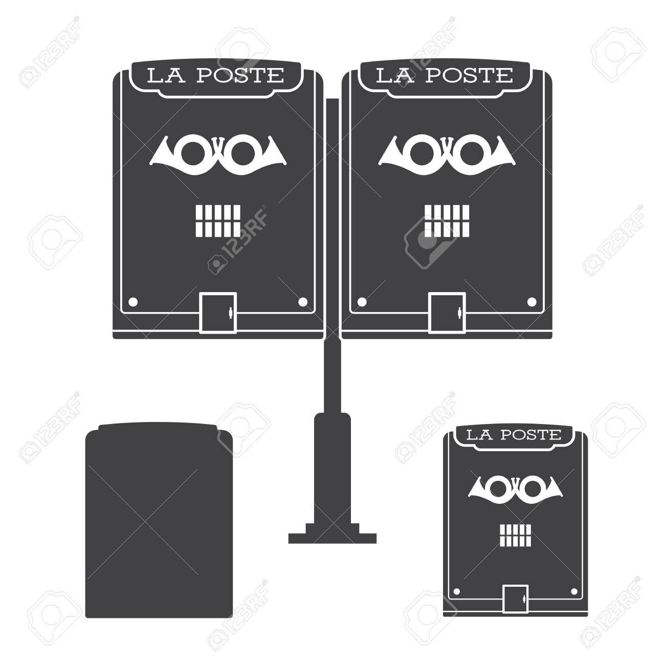 Retro Letter Box With Horn Outline Illustration Vintage Mailbox - Mailbox label template