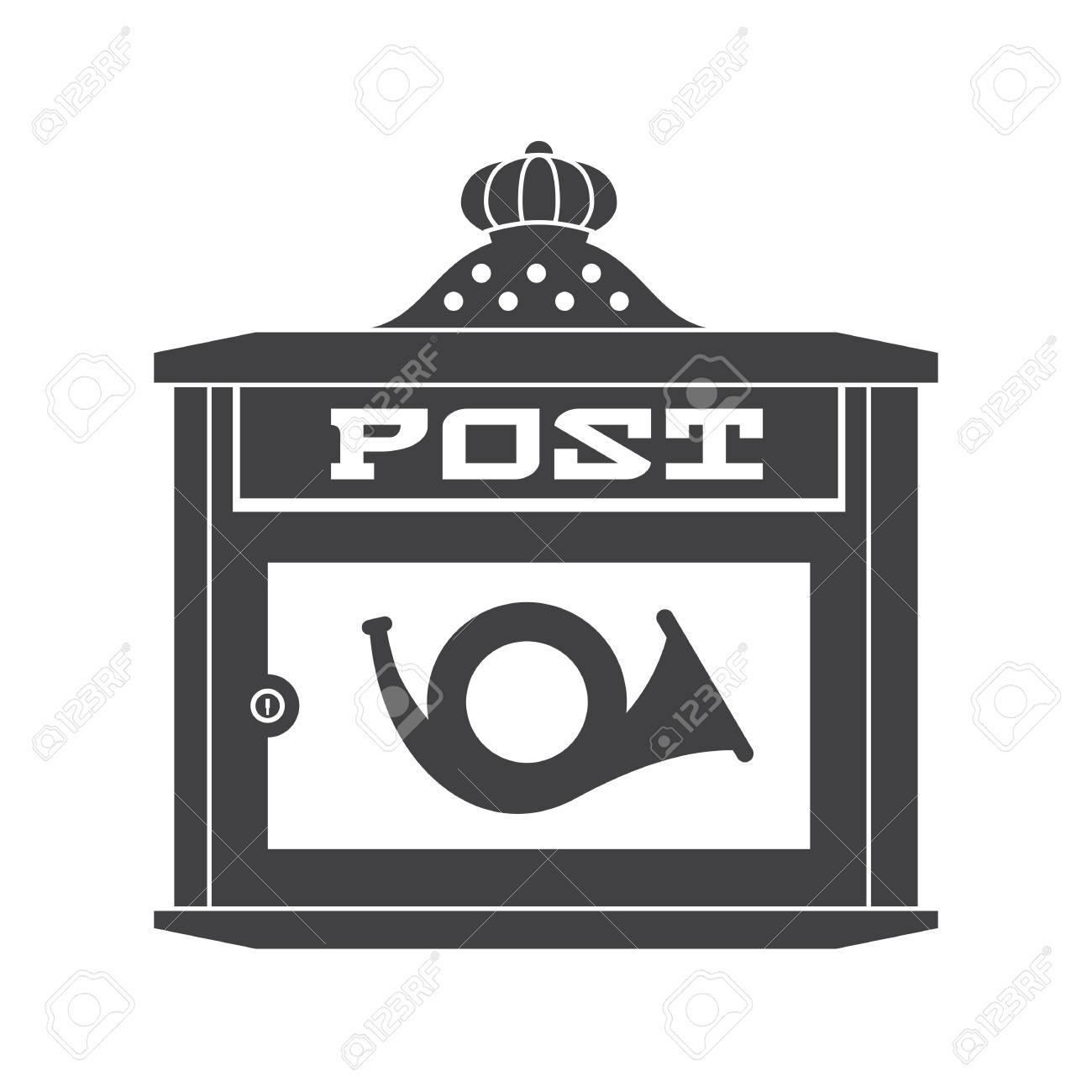 Retro Letter Box With Horn Outline Illustration. Vintage Mailbox.. Stock  Photo, Picture And Royalty Free Image. Image 99914124.