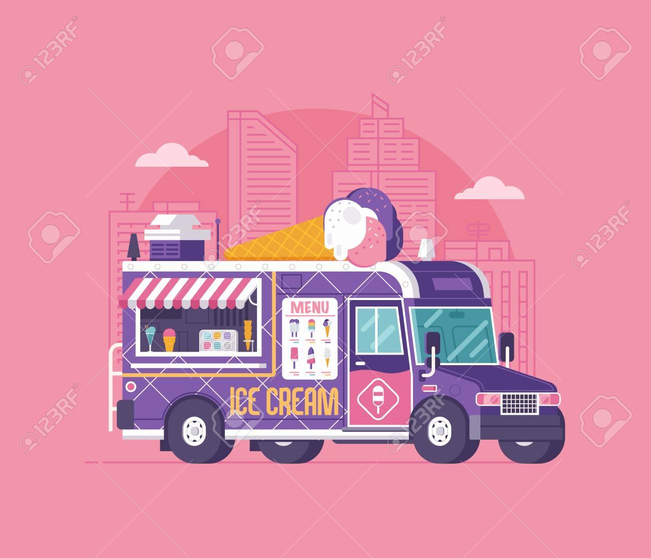summer kitchen auto kiosk vector illustration cartoon ice cream truck illustration vintage cartoon minivan with frozen sweets - Summer Kitchen Menu